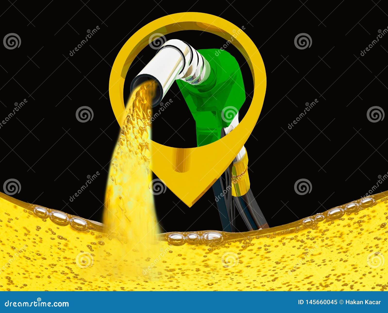 Illustration 3D, versehen pumpendes Benzin in einem Beh?lter, des auslaufenden Benzins der Zapfpistole ?ber wei?em Hintergrund mi