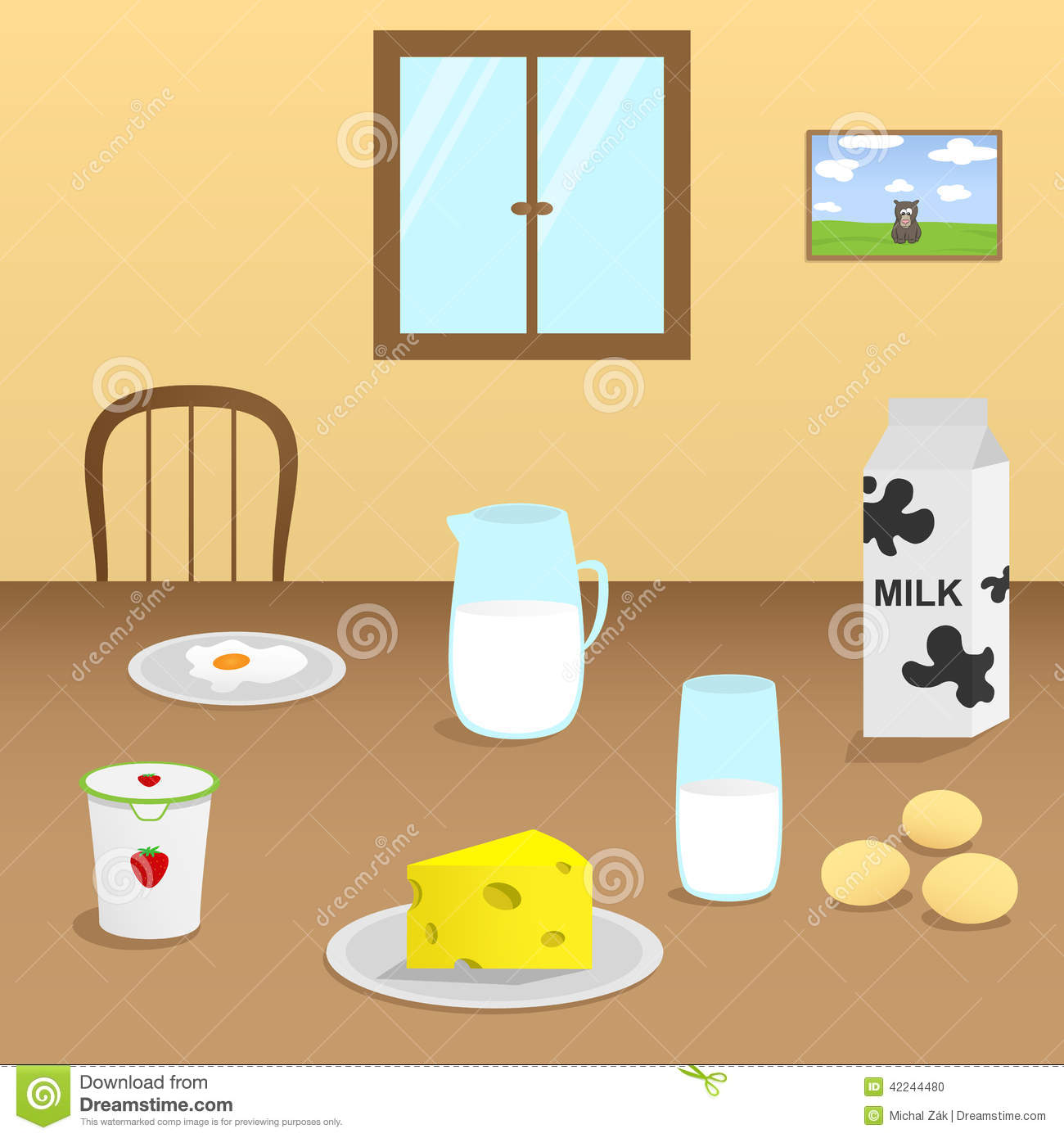 Cartoon kitchen table - Illustration Dairy Products Wooden Table Dining Room Jpg 1300x1390 Cartoon Kitchen Table Background