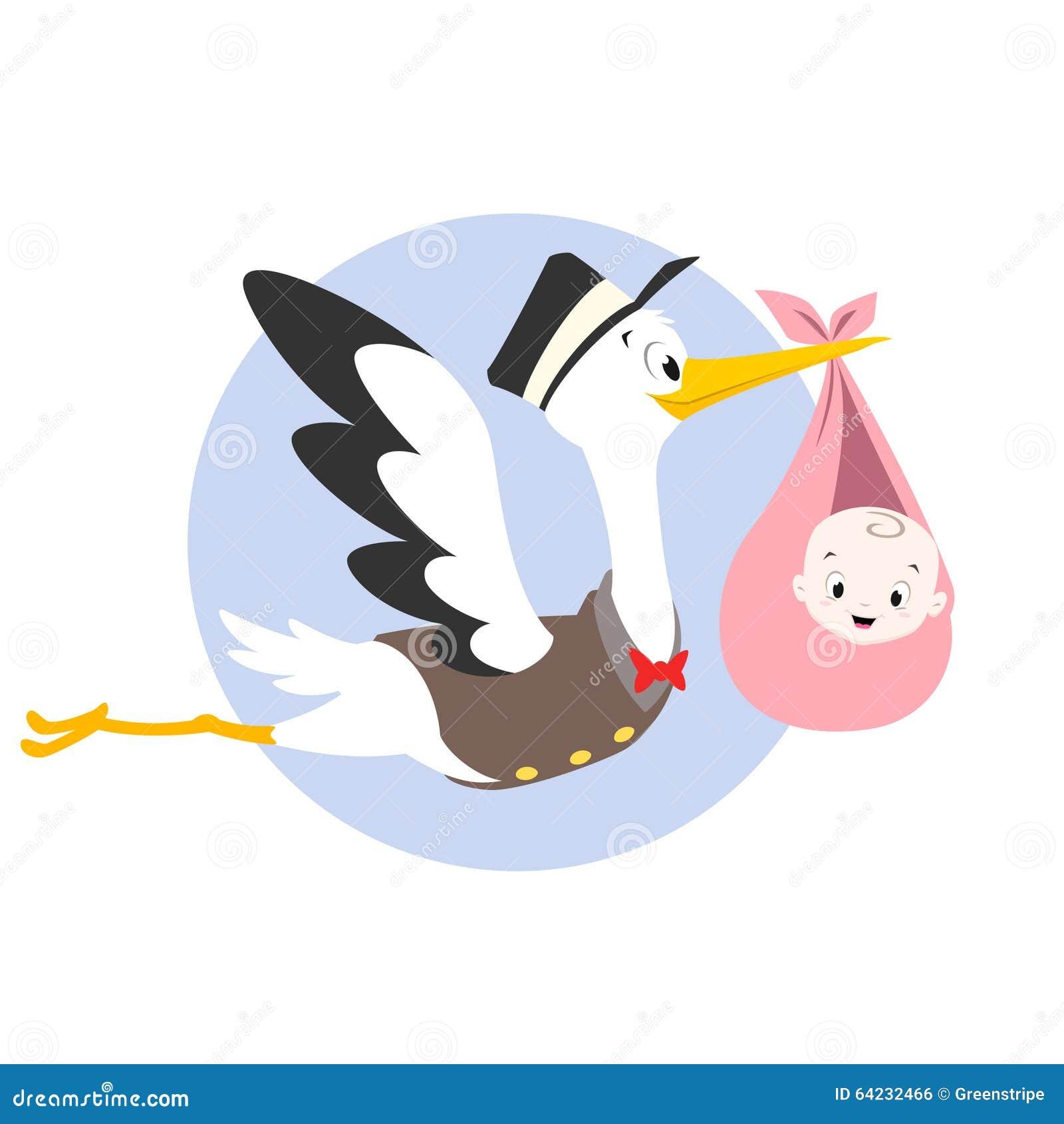 Cigogne Et Bébé illustration de bébé de cigogne illustration de vecteur