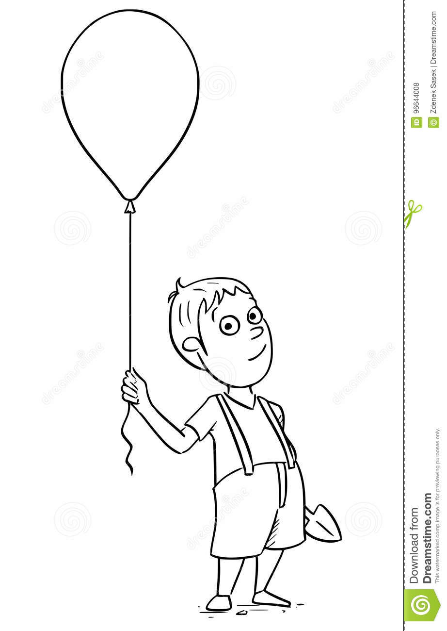 Illustration De Bande Dessinee De Garcon Avec Le Ballon Gonflable