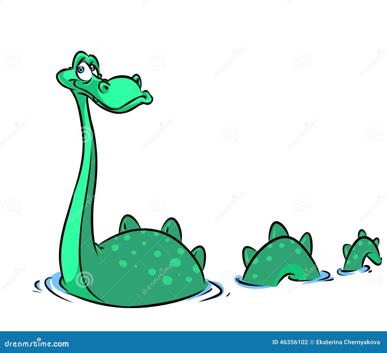 Illustration de bande dessinée de monstre de Loch Ness