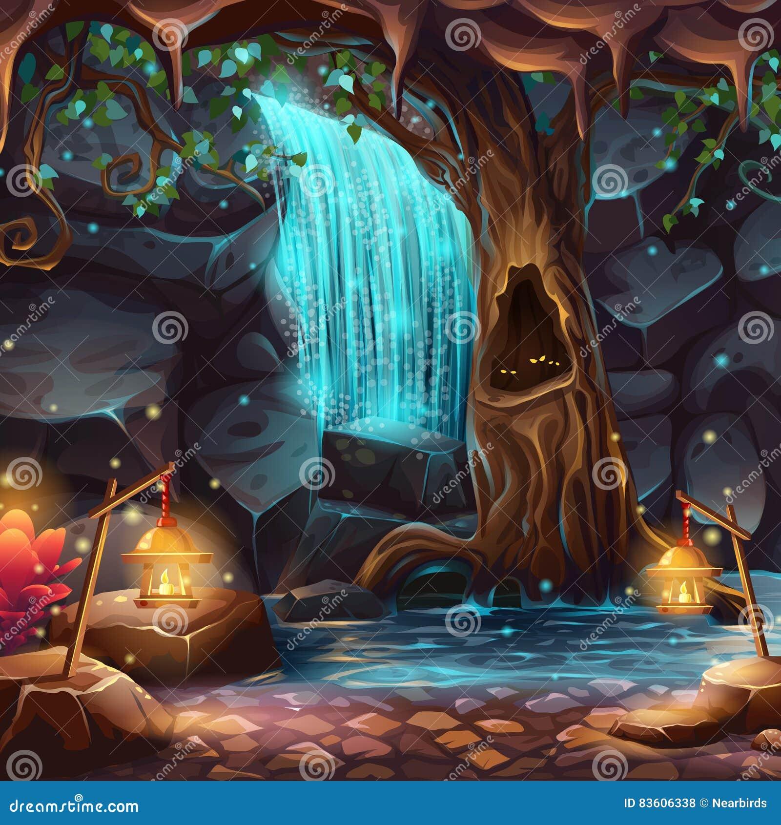 Illustration de bande dessinée de vecteur d une cascade magique