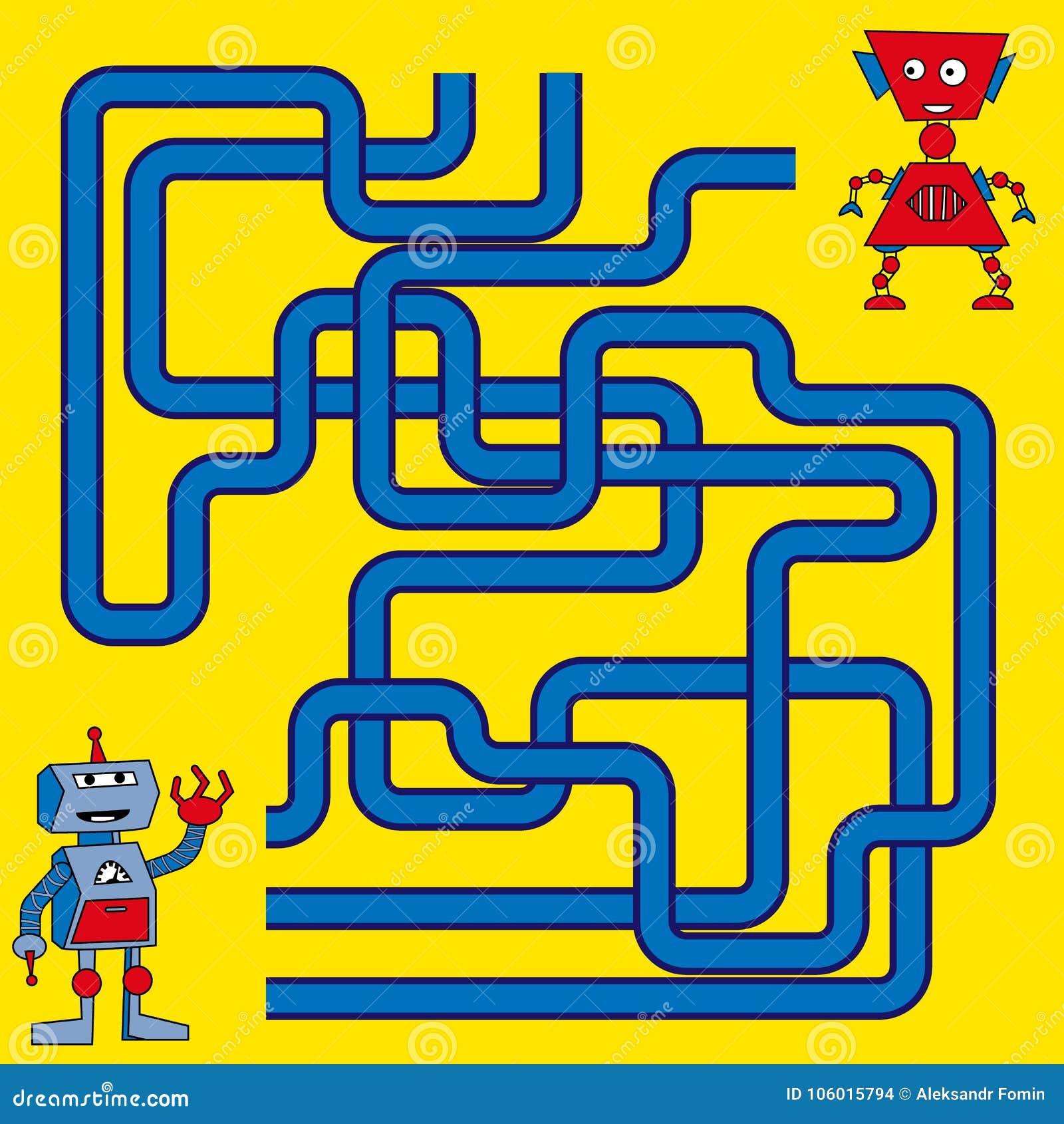 Illustration de bande dessinée des chemins ou du Maze Puzzle Activity Game Enfants apprenant la collection de jeux
