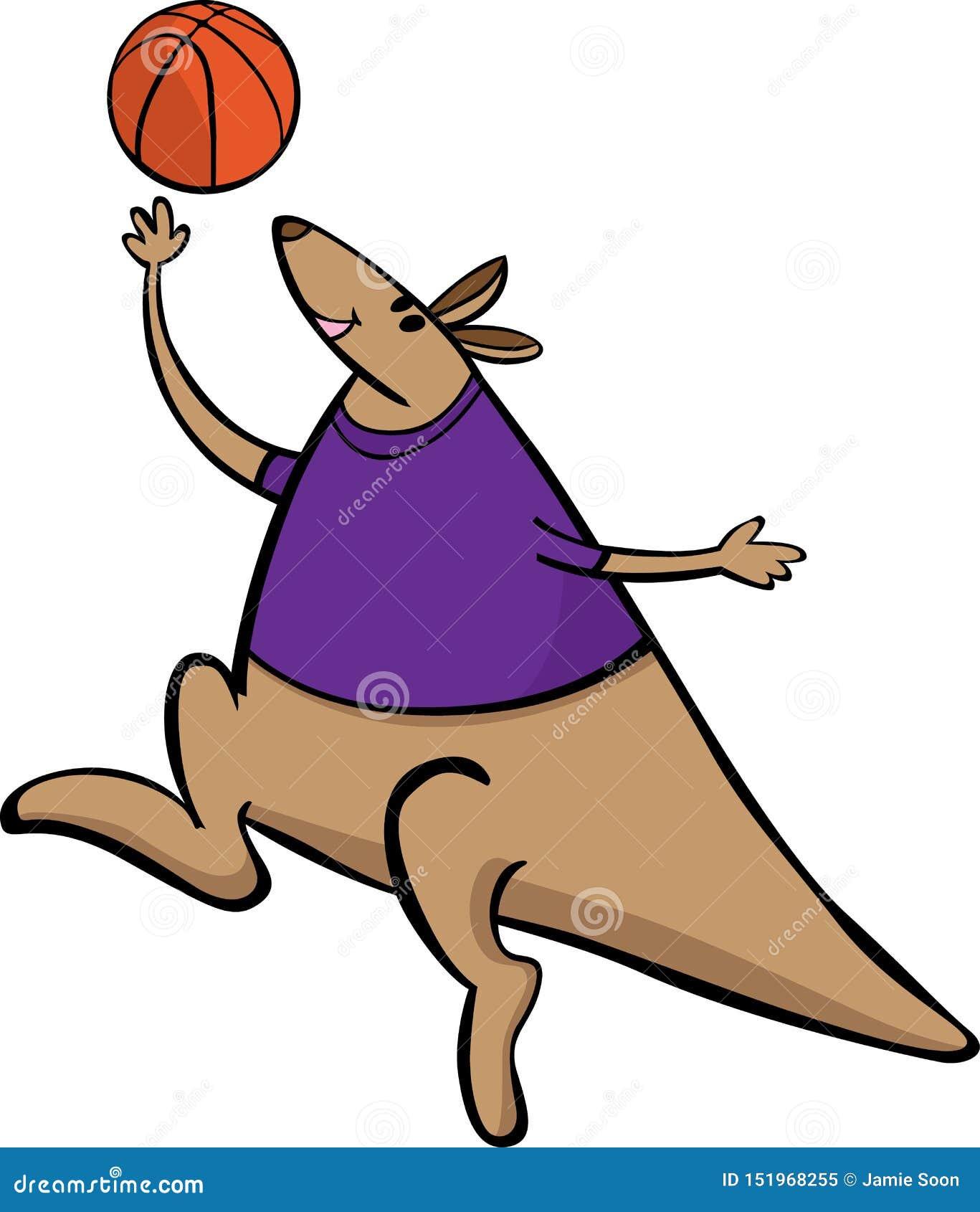 Illustration de bande dessinée de mascotte de sport de basket-ball de kangourou de vecteur Approprié au logo et aux affiches