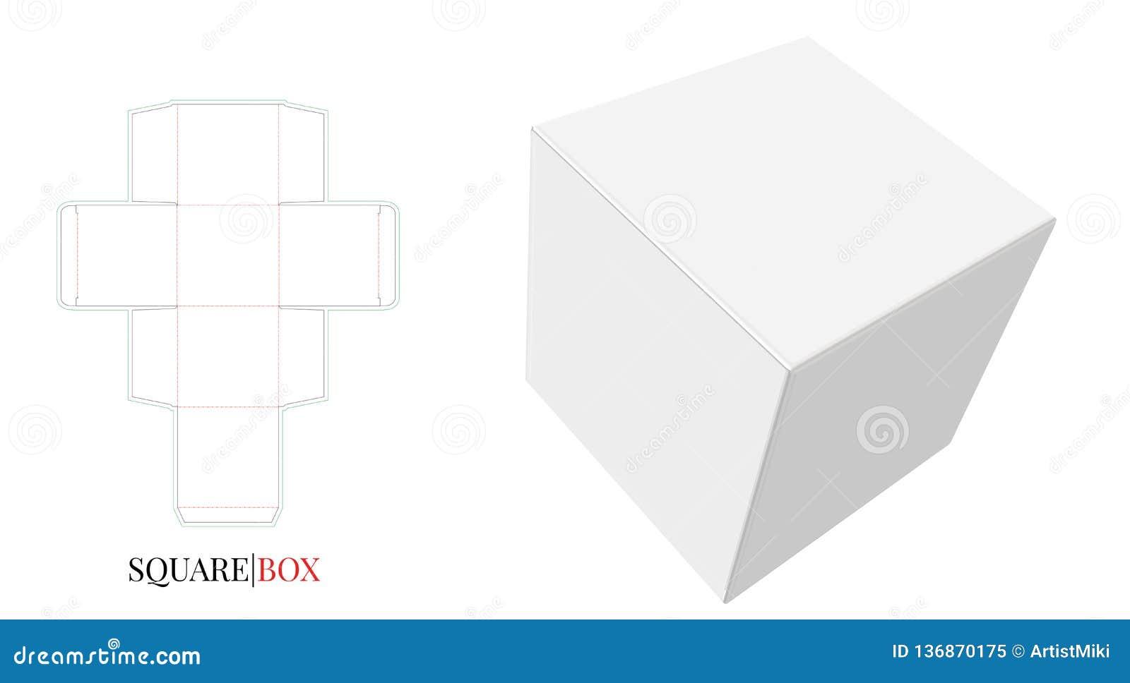 Illustration de boîte carrée Le vecteur avec découpé/laser avec des matrices a coupé des couches