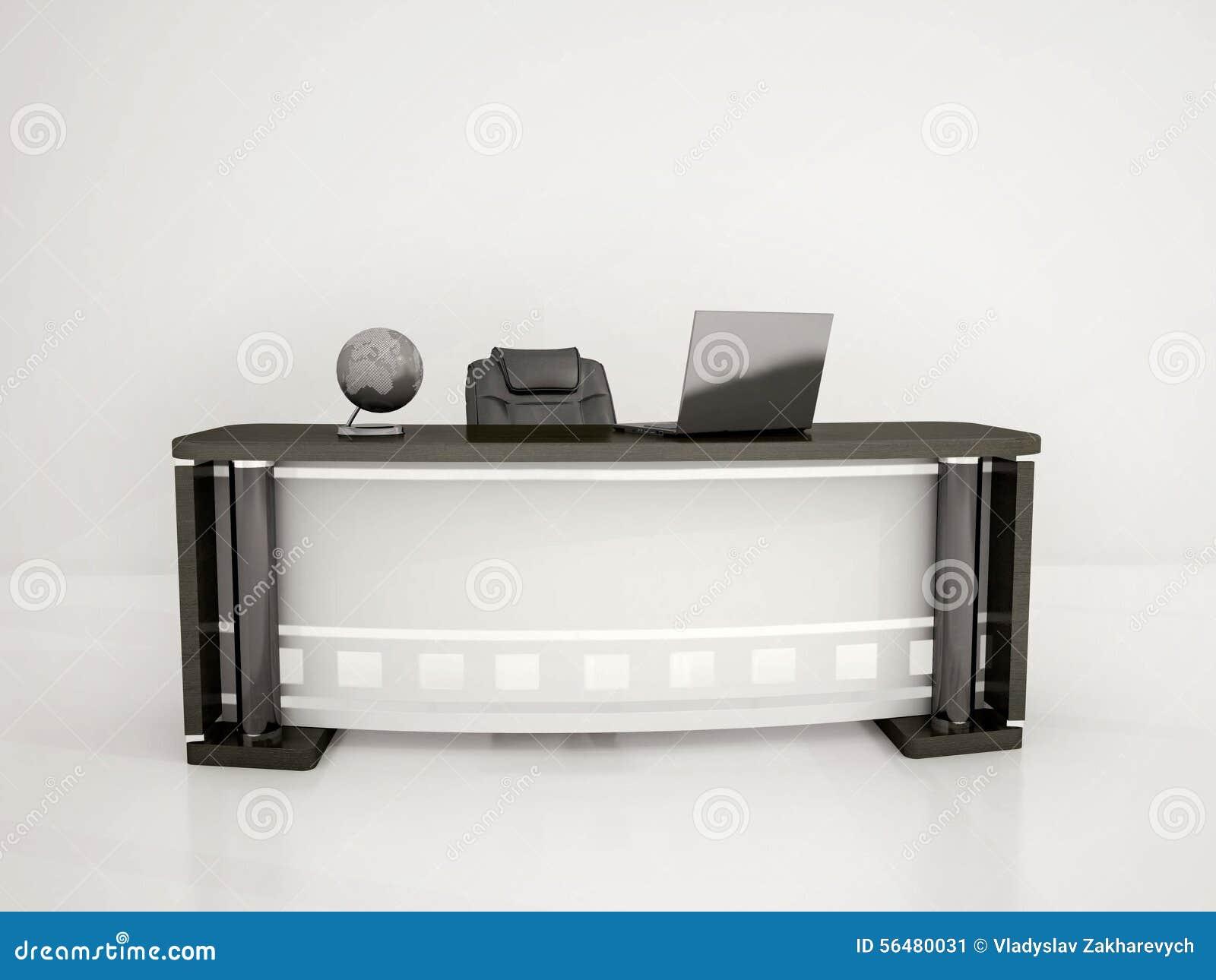 Illustration de bureau et de chaise dans le bureau blanc