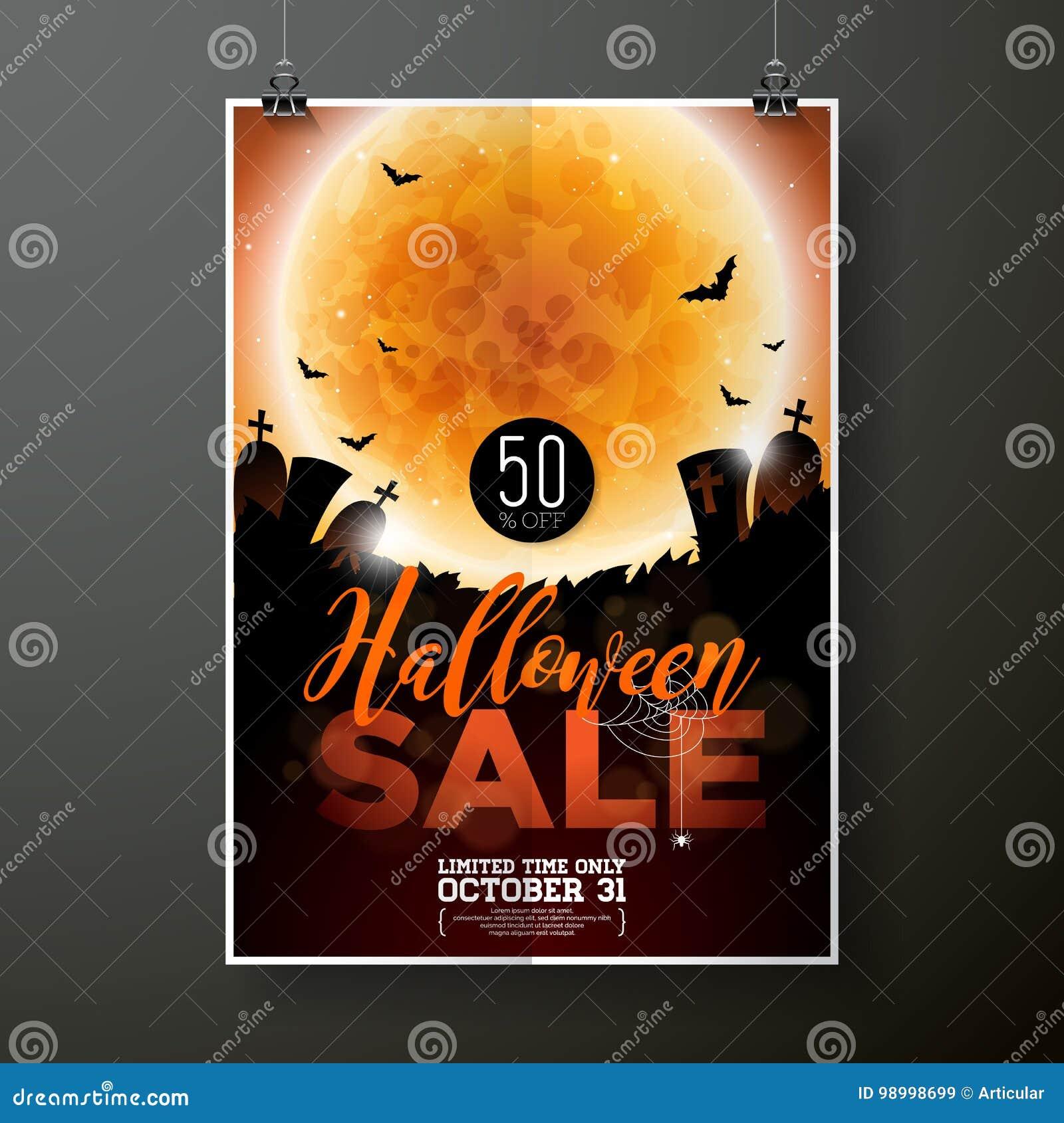 Illustration de calibre d affiche de vecteur de vente de Halloween avec la lune et battes sur le fond orange de ciel Conception p