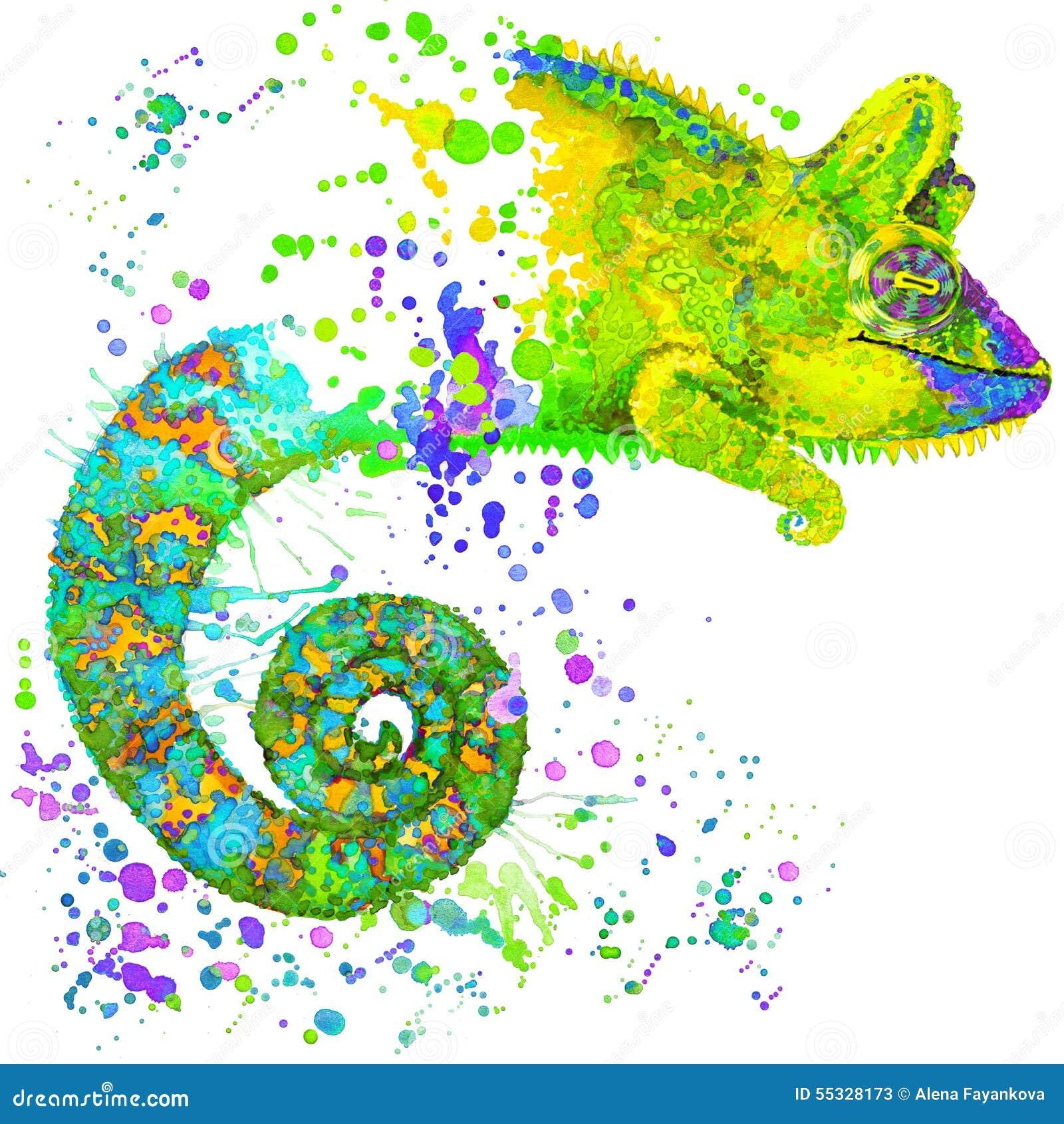 Illustration de caméléon avec le fond texturisé d aquarelle d éclaboussure