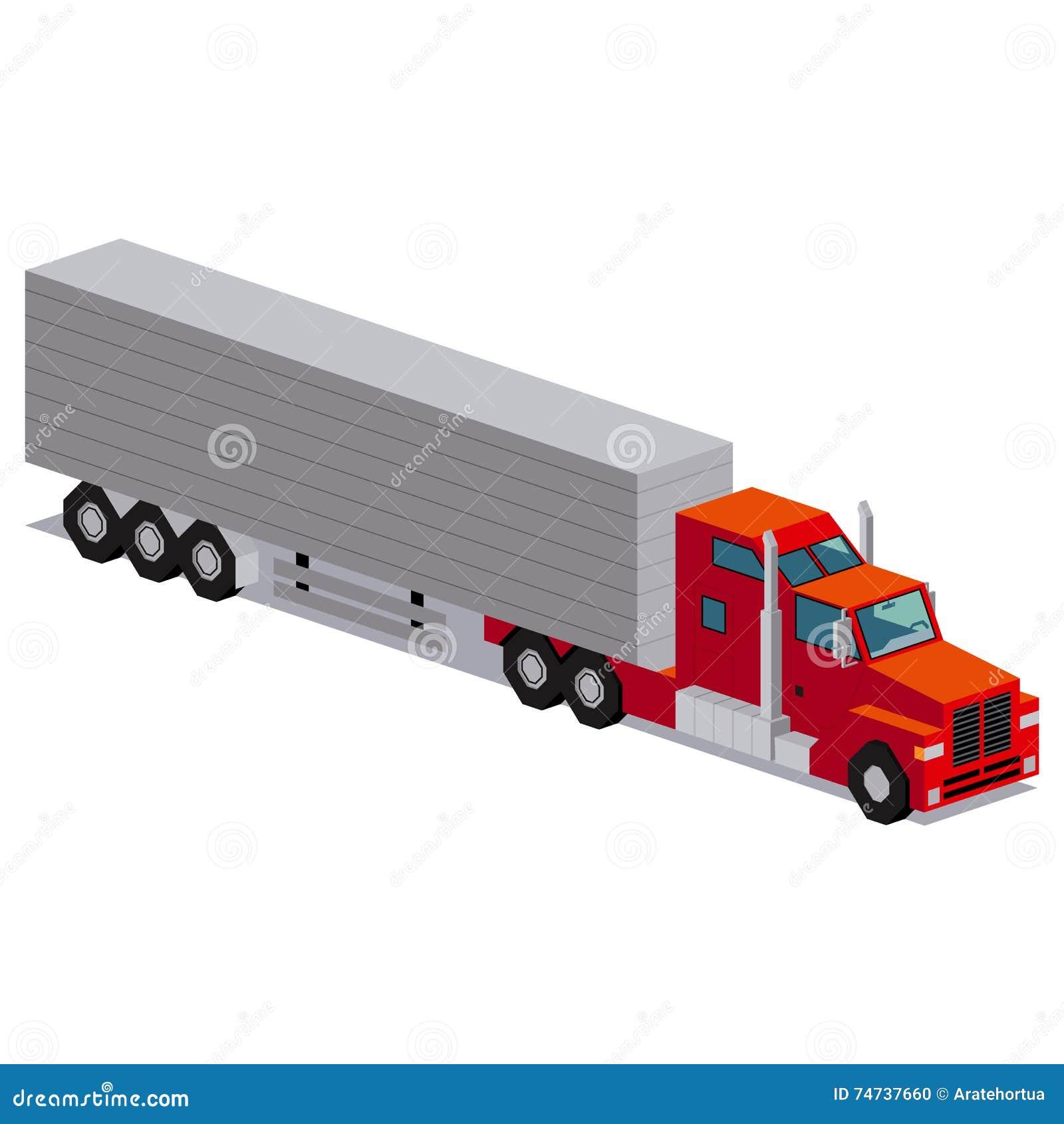 Illustration de camion rouge d isolement sur le fond blanc