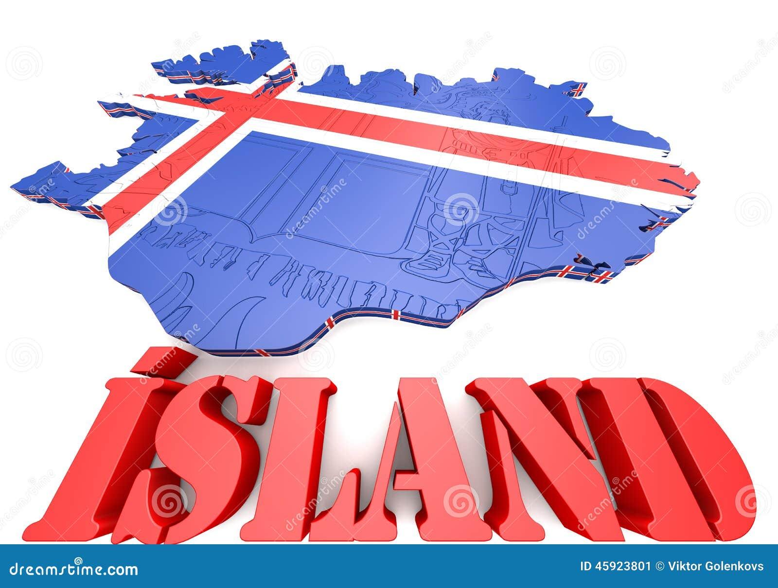 Carte Islande Drapeau Fond Noir