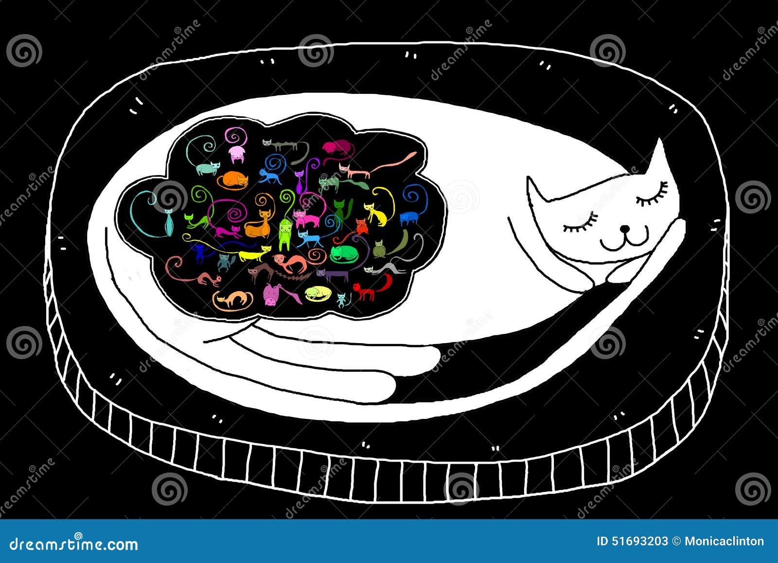 Illustration de chat de sommeil