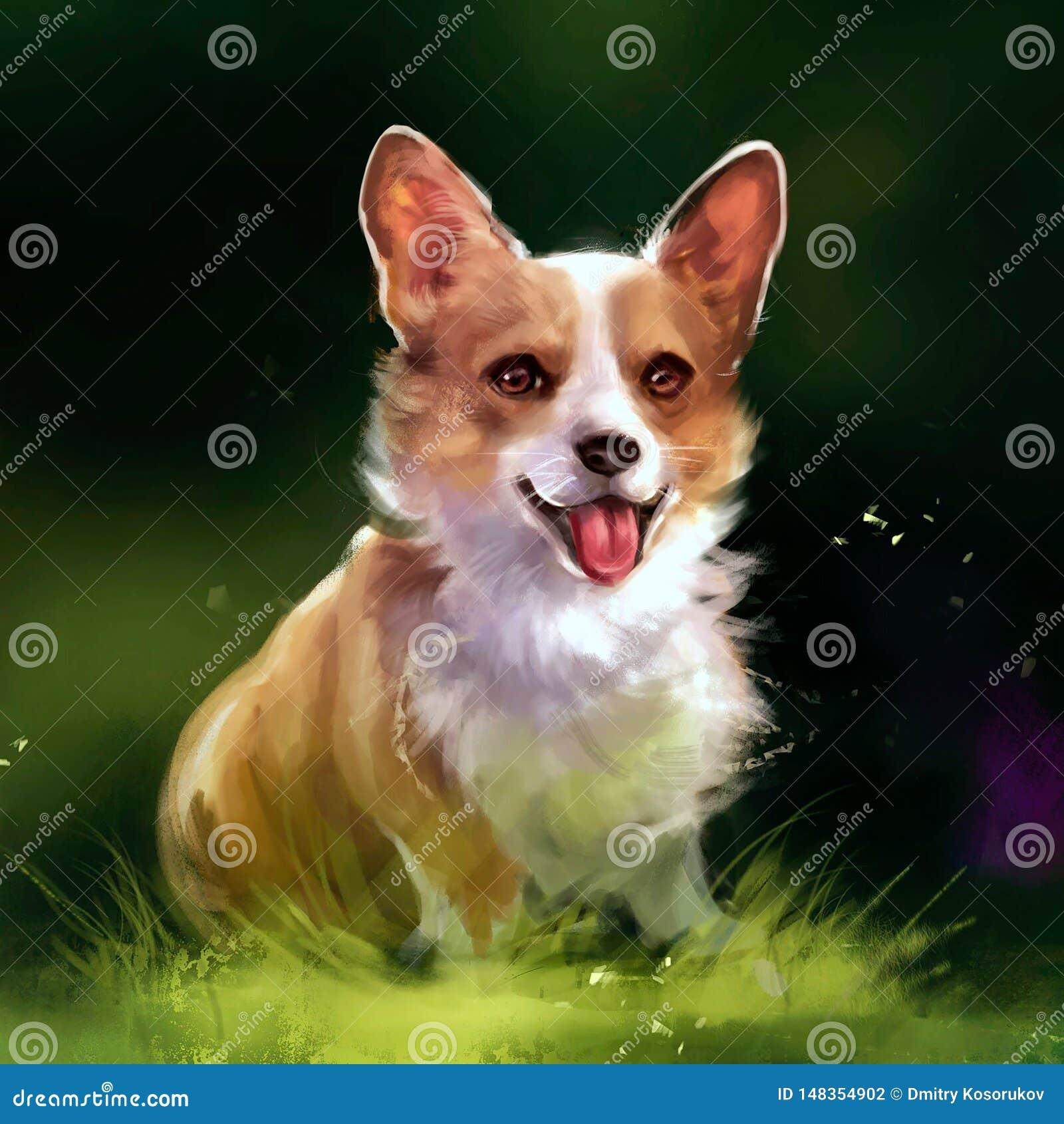 Illustration de chien rouge sur l herbe