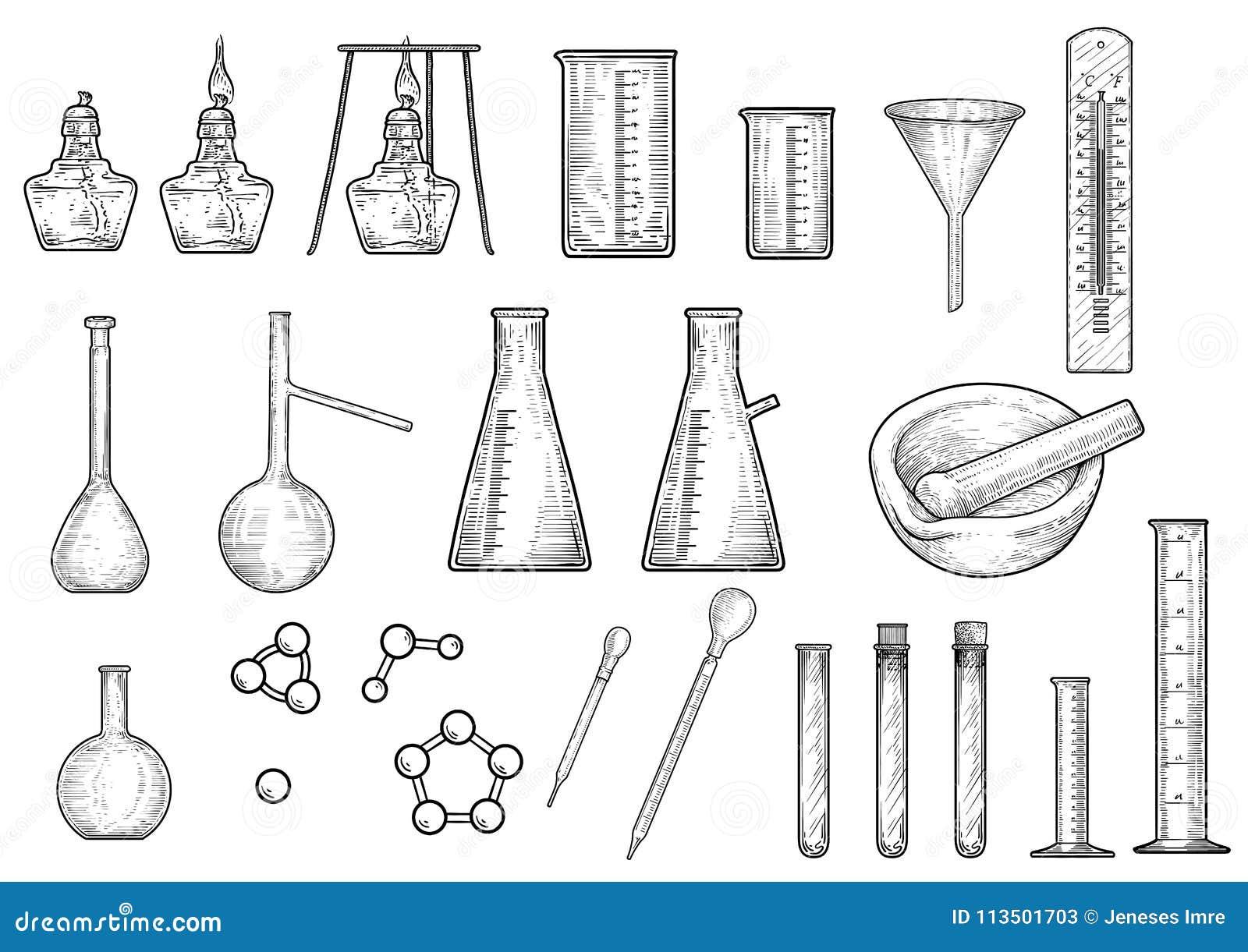 Illustration De Chimie Ou De Collection D'équipements De Physique ...