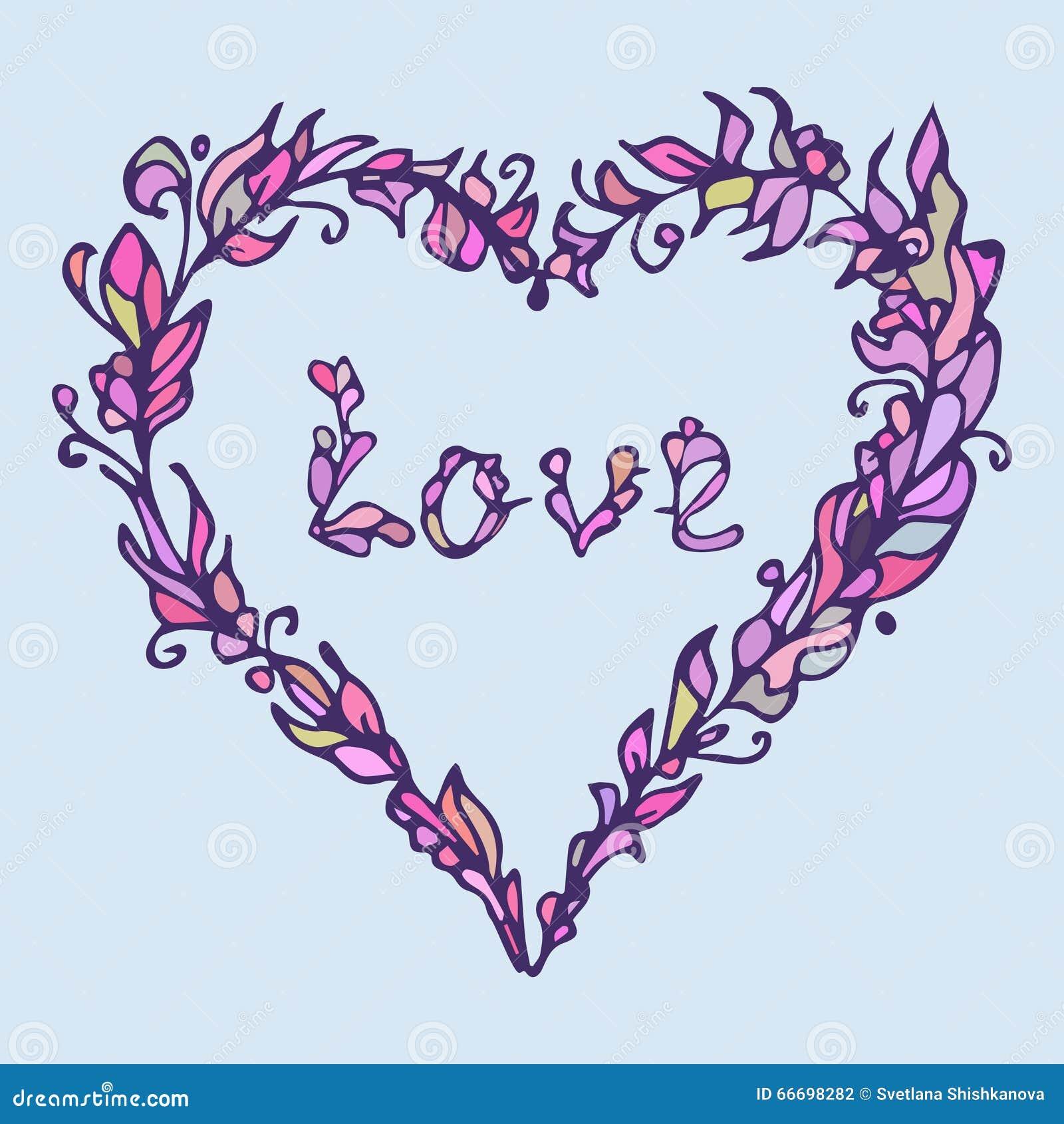 Illustration De Coeur Griffonnage Tiré Par La Main D Amour