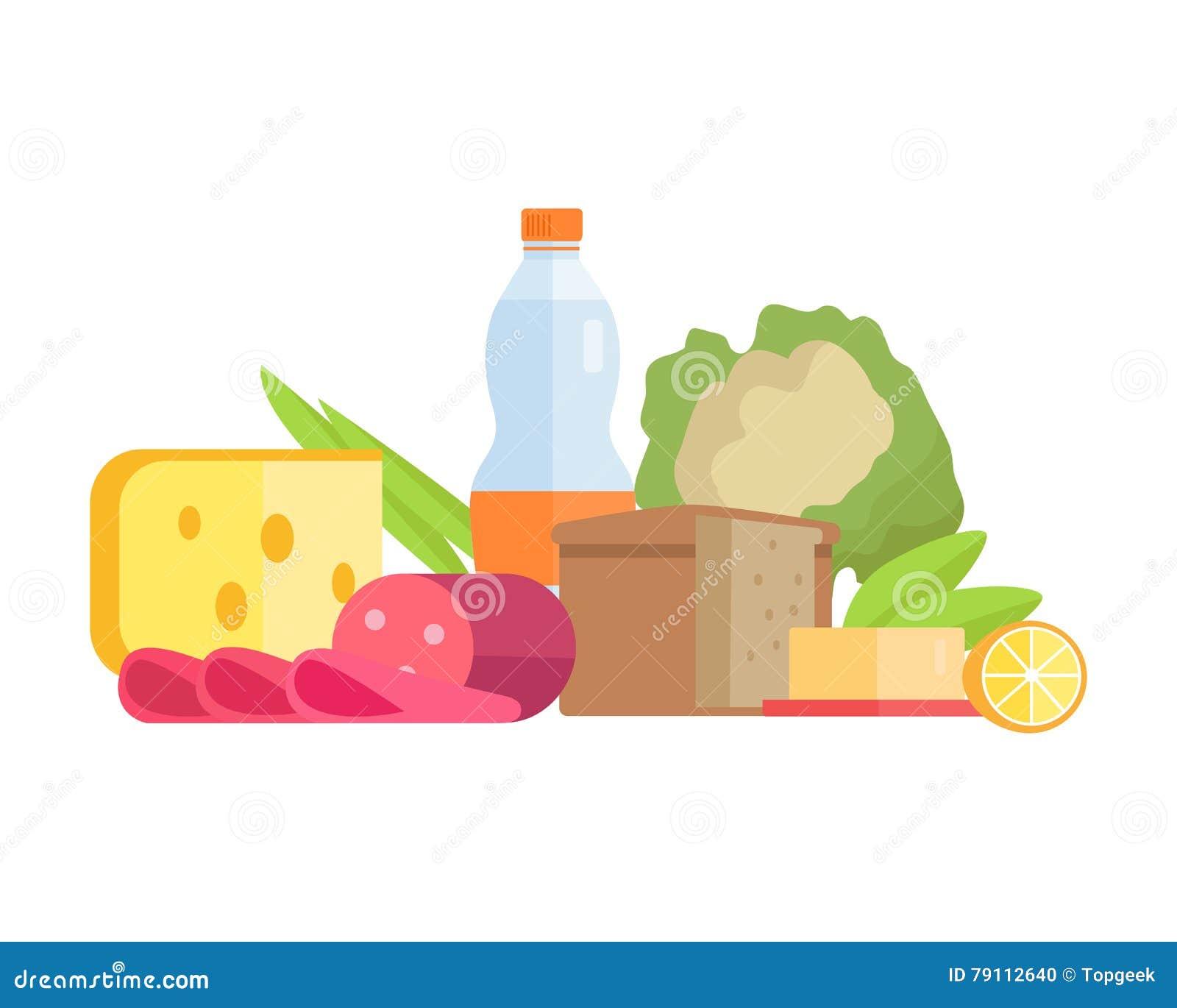 Illustration de concept de nourriture dans la conception plate de style