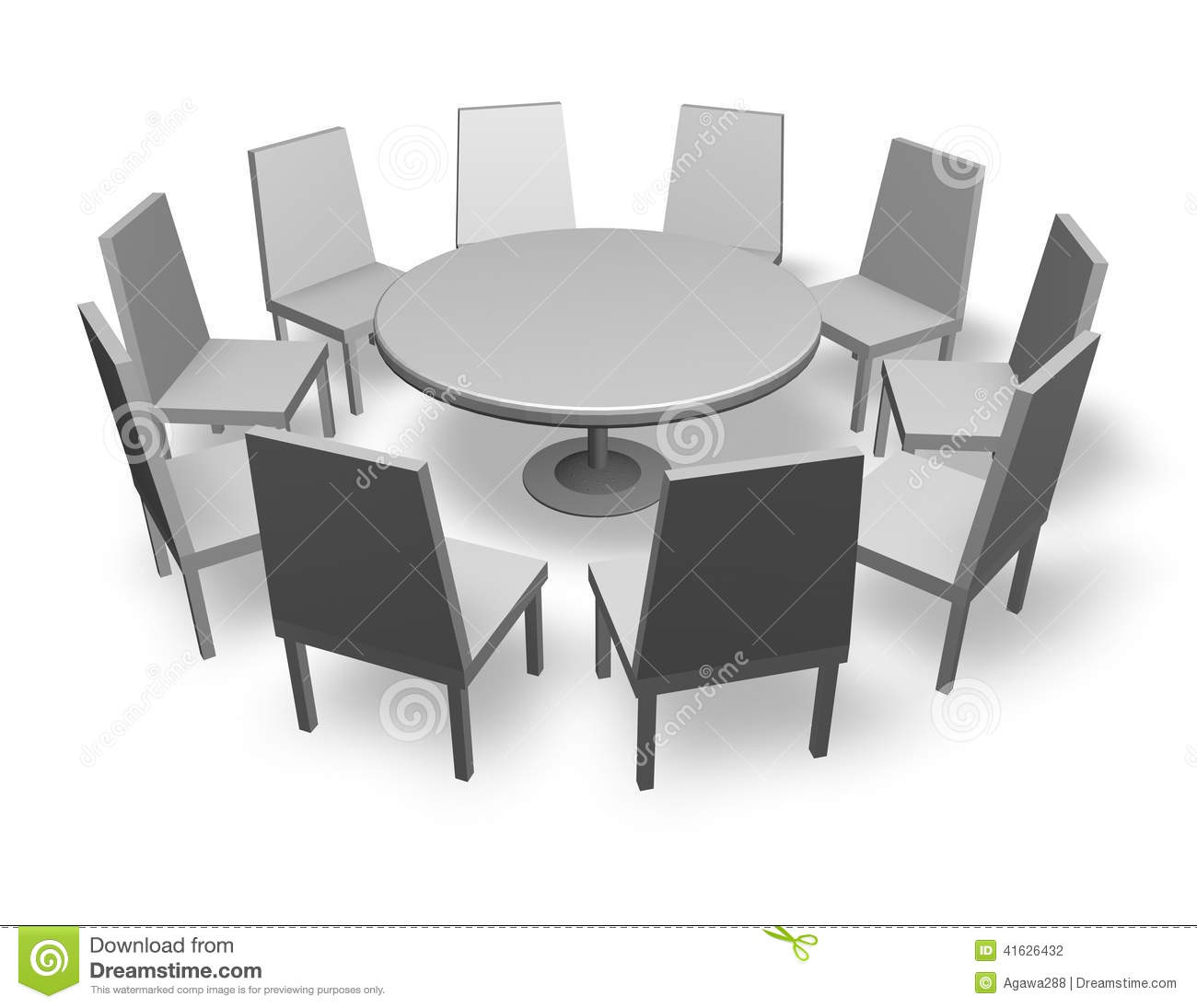 Illustration de concept de r union avec les chaises et la for Bonbon la table ronde