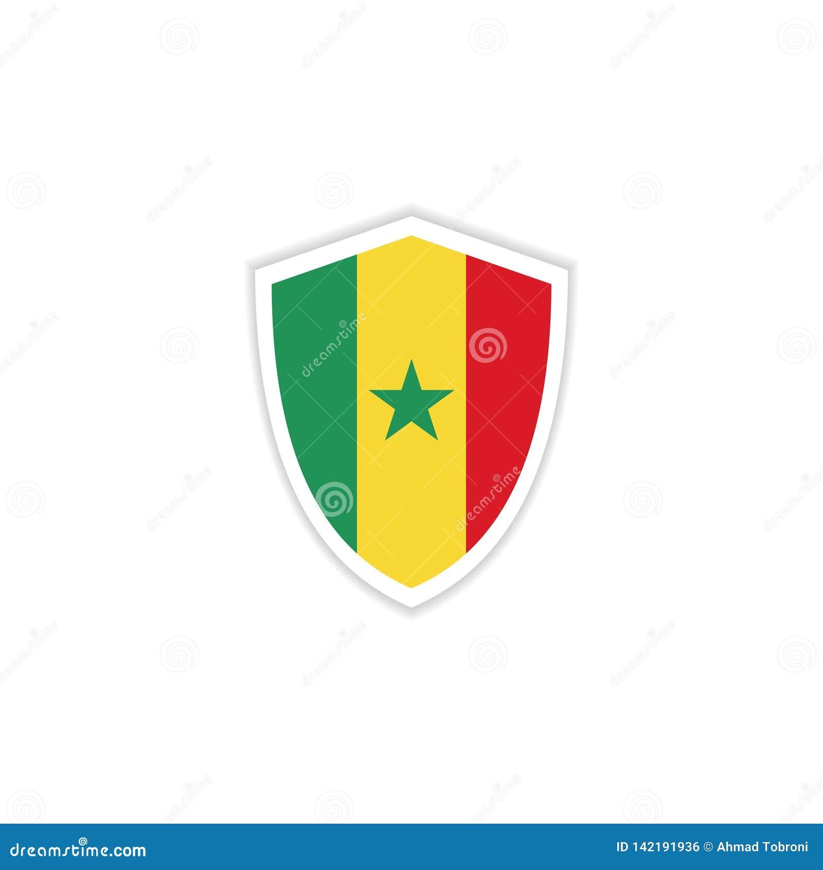 Illustration de conception de calibre de vecteur d emblème de drapeau du Sénégal