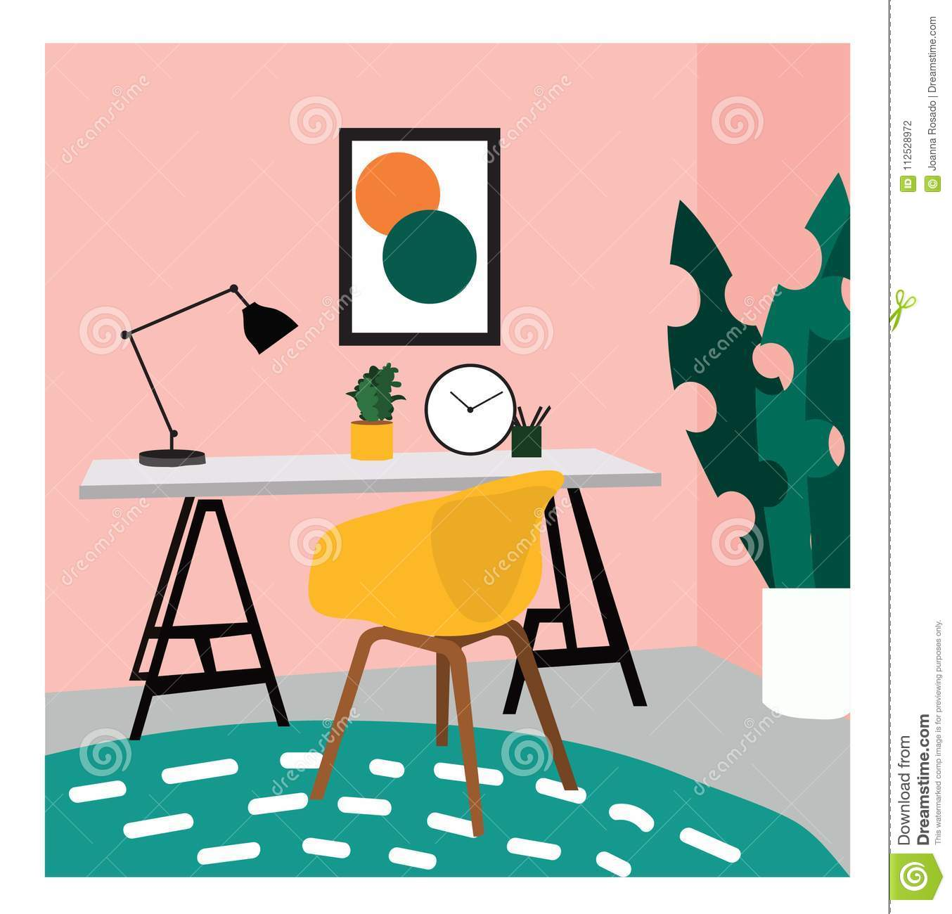 Illustration De Conception Intrieure Vecteur Photo D Tude Bureau Chaise Et Lampe