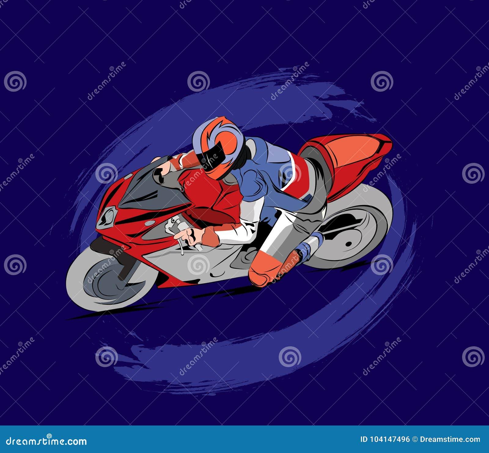 Illustration de course de moto dans le vecteur