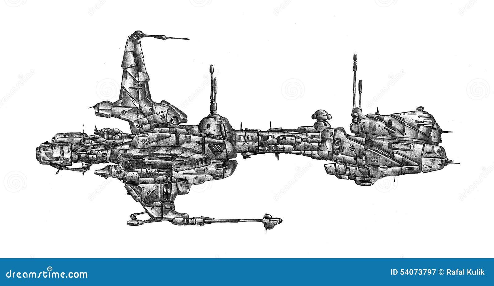 Illustration de croquis de dessin d 39 art de vaisseau spatial illustration stock illustration du - Dessin vaisseau spatial ...