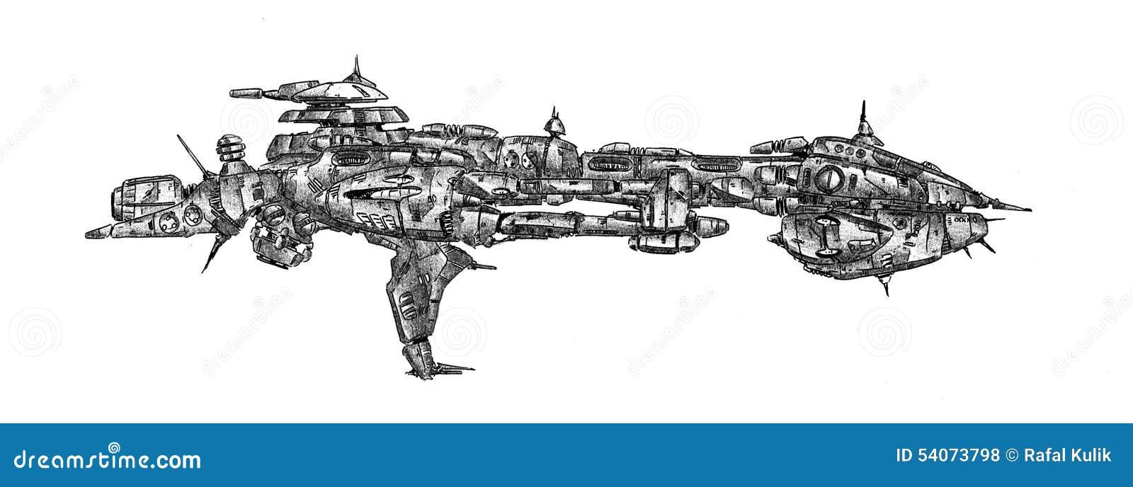 Illustration de croquis de dessin d 39 art de vaisseau - Dessin vaisseau spatial ...