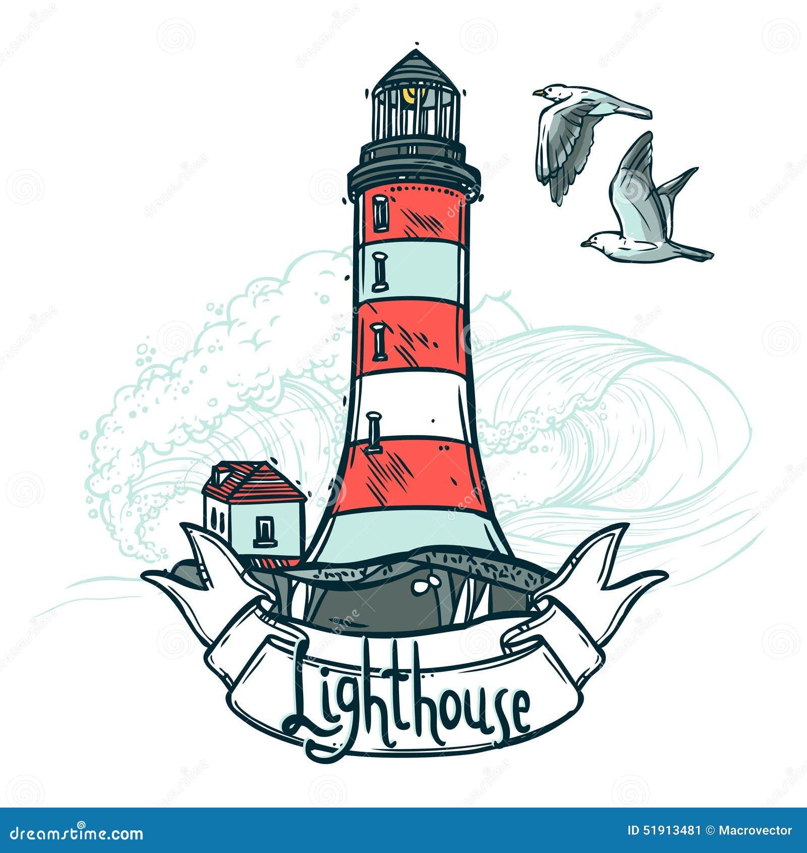Illustration de croquis de phare illustration de vecteur - Dessin de phare ...