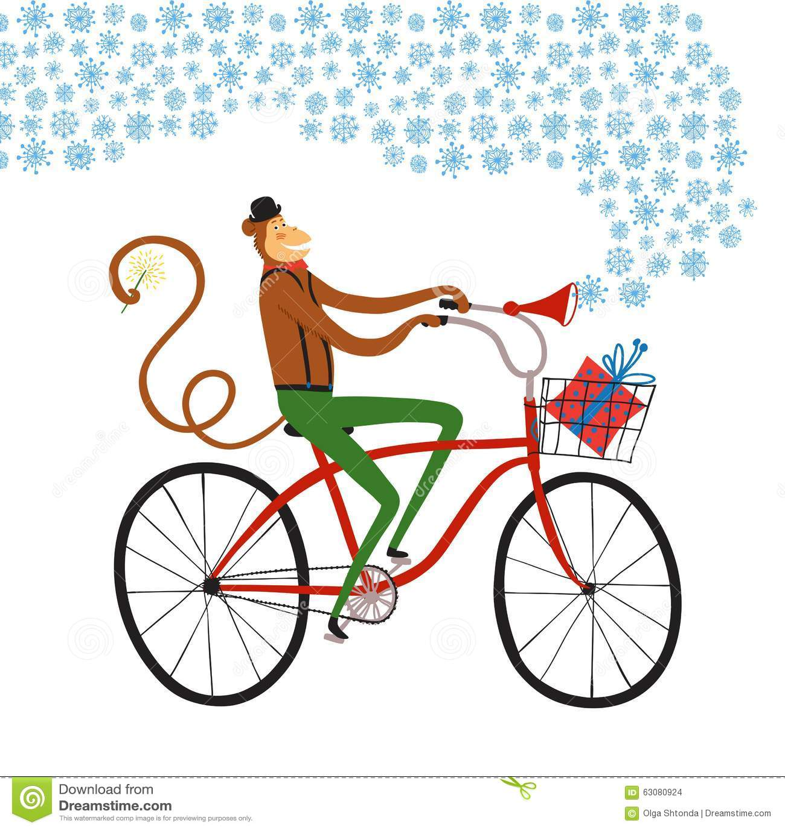 Download Illustration De Cycliste Du Singe De Nouvelle Année Illustration Stock - Illustration du ville, cadre: 63080924