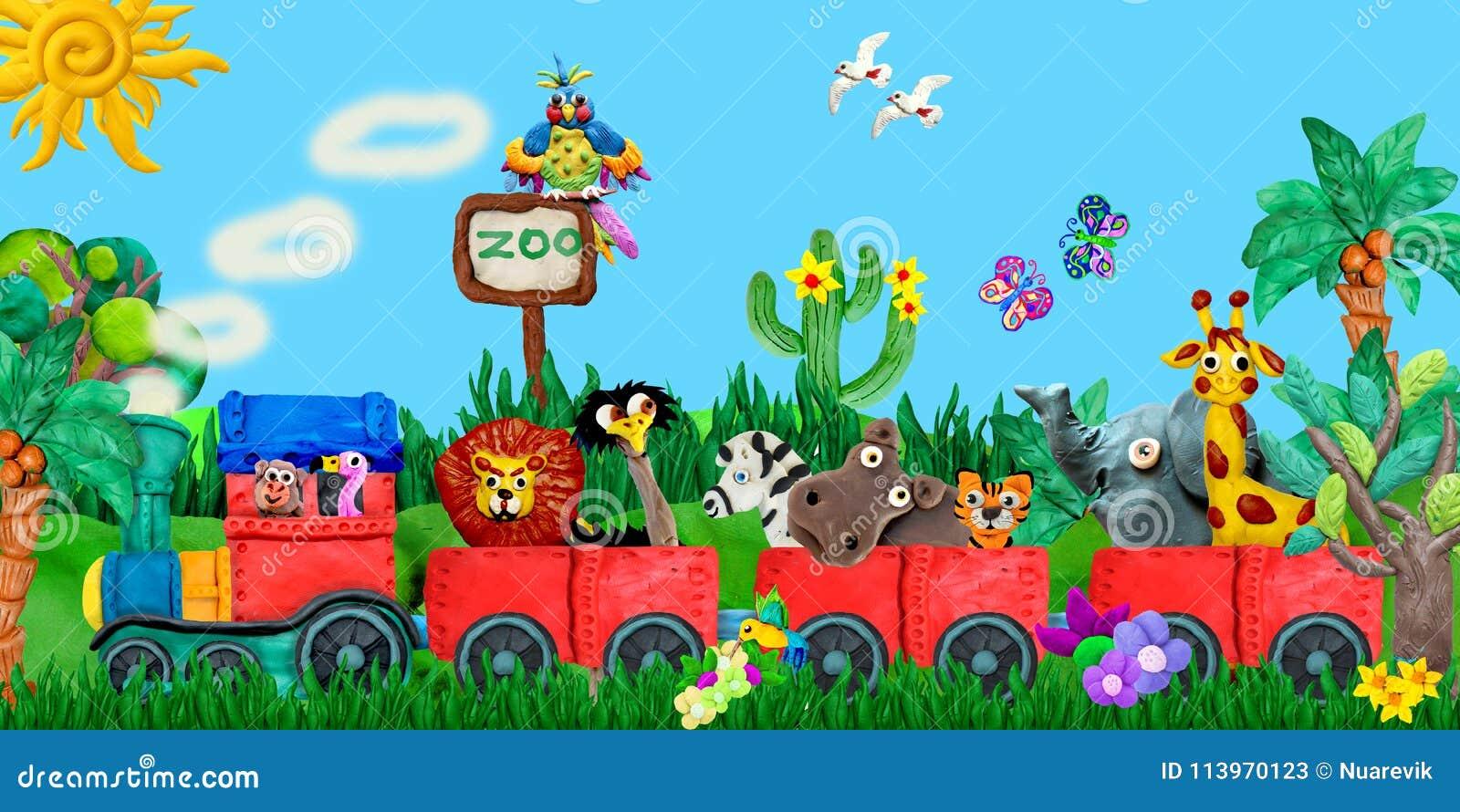 Illustration de déplacement de bannière d enfants de rendu des animaux 3D de zoo