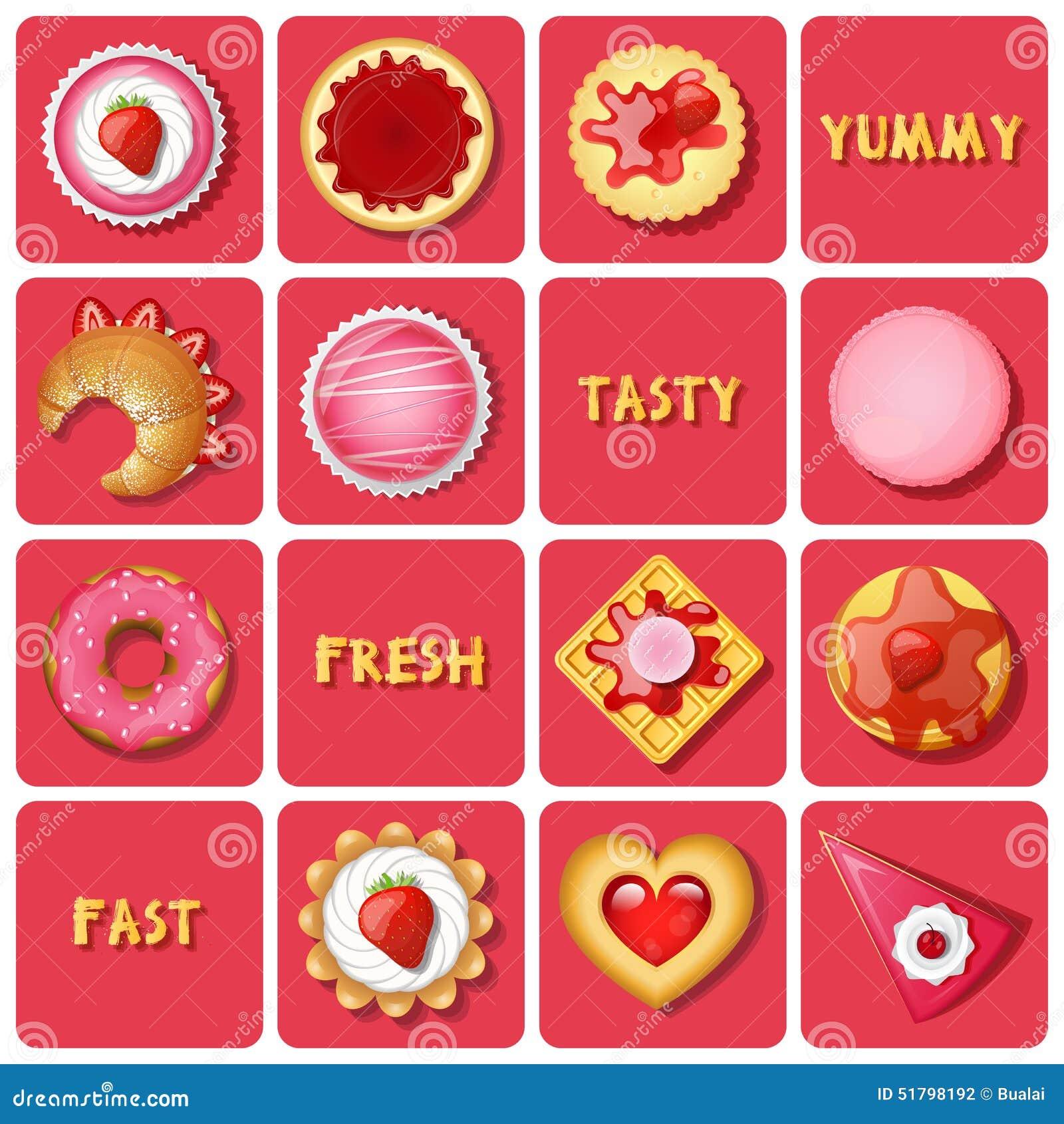 Illustration de dessert et de pâtisseries