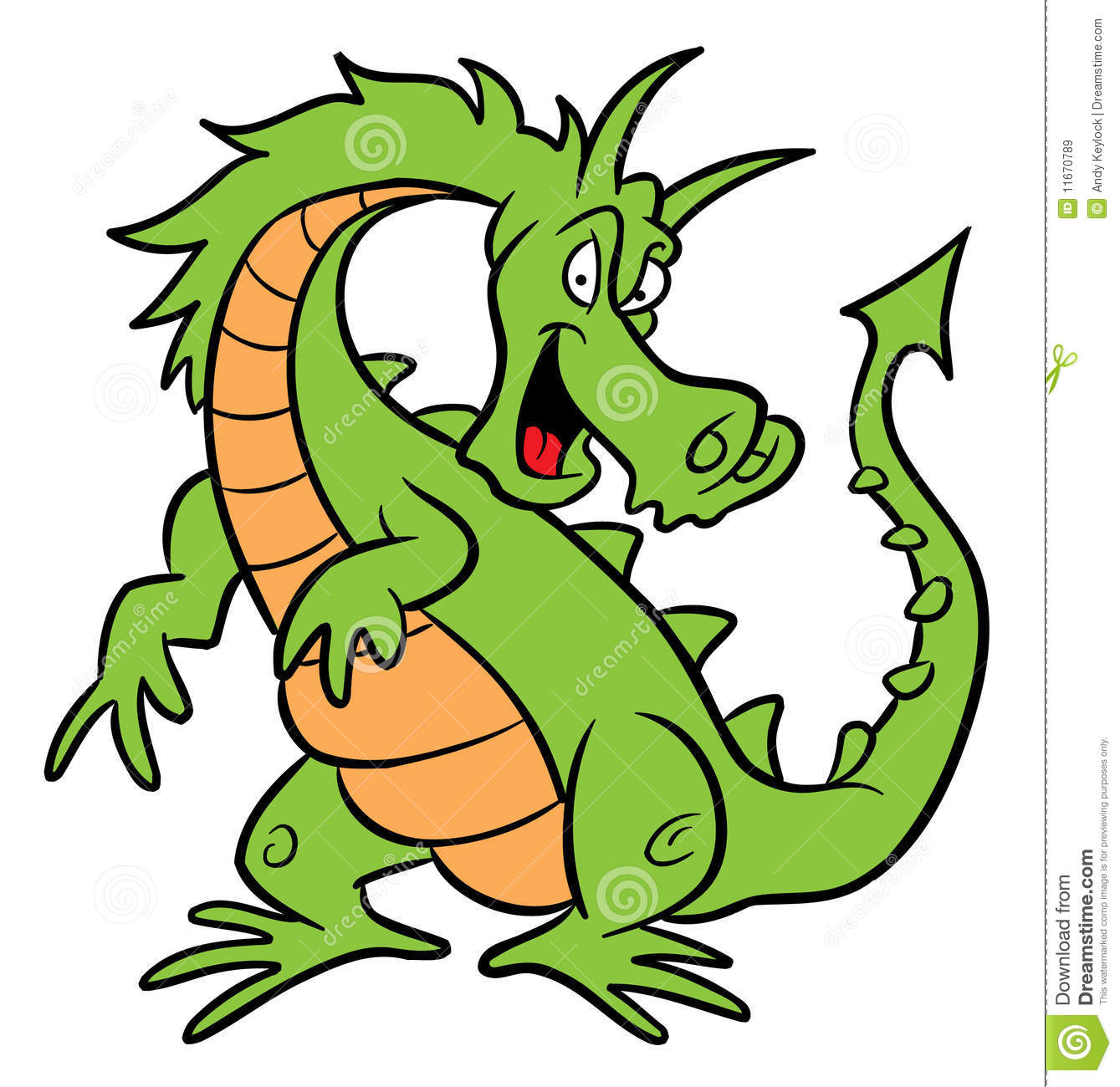 Illustration de dessin anim de dragon vert illustration - Dessin dragon couleur ...