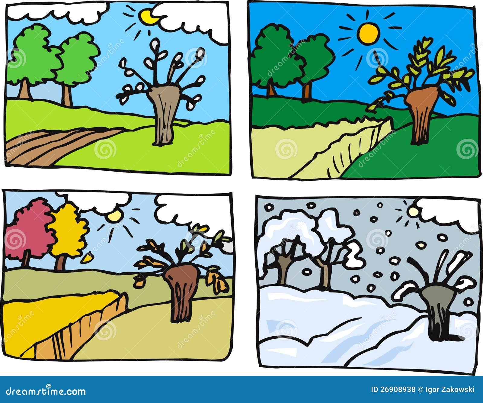 Illustration de dessin anim de quatre saisons photos for Le jardin des 4 saisons pusignan