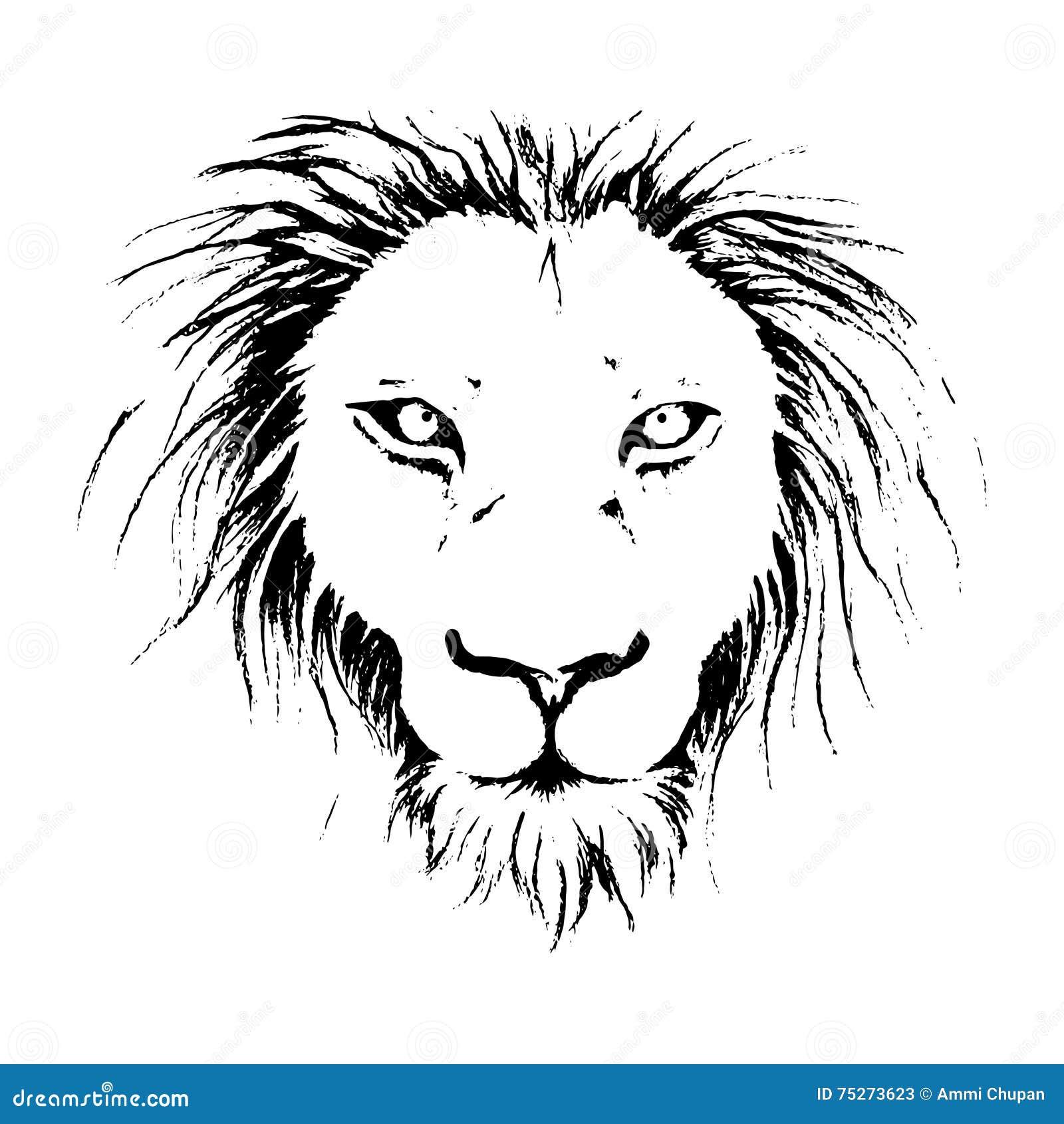 illustration de dessin de visage de lion dans sch ma noir. Black Bedroom Furniture Sets. Home Design Ideas