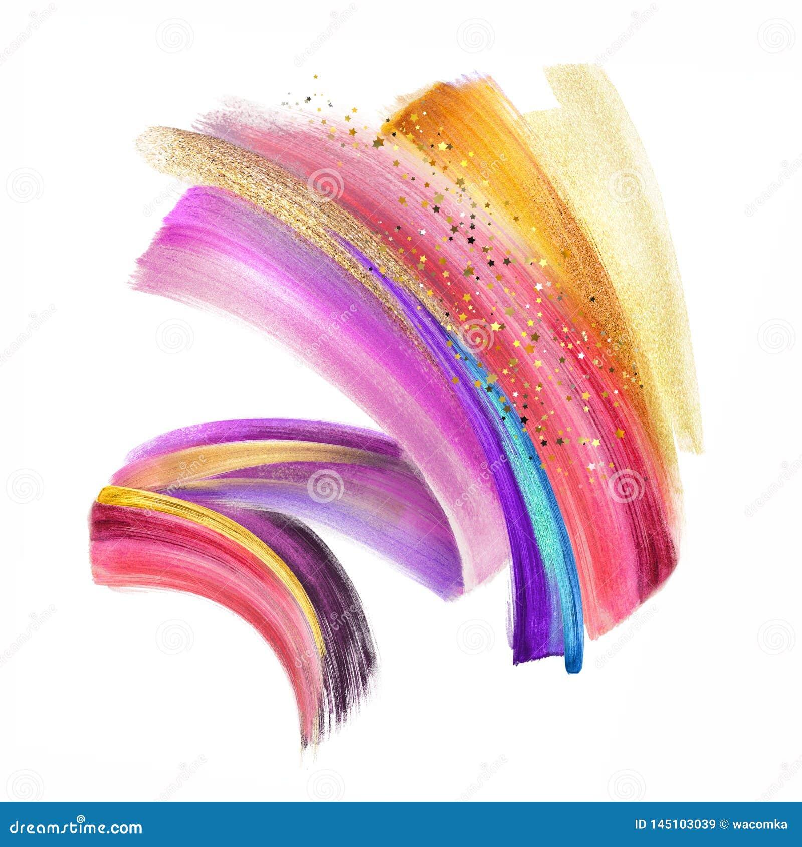 Illustration de Digital, clipart (images graphiques) au néon coloré de course de brosse d isolement sur le fond blanc, calomnie