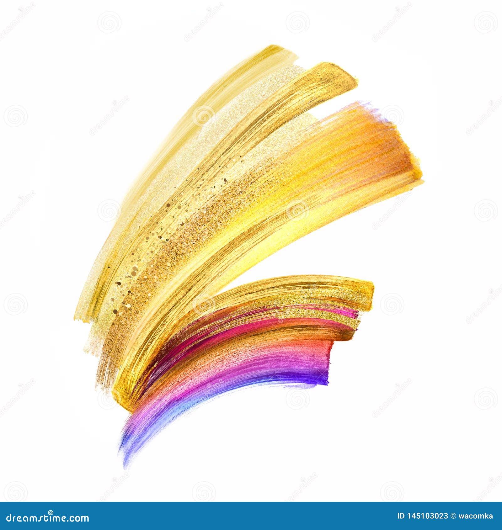 Illustration de Digital, clipart (images graphiques) de course de brosse d or jaune d isolement sur le fond blanc, calomnie d aqu
