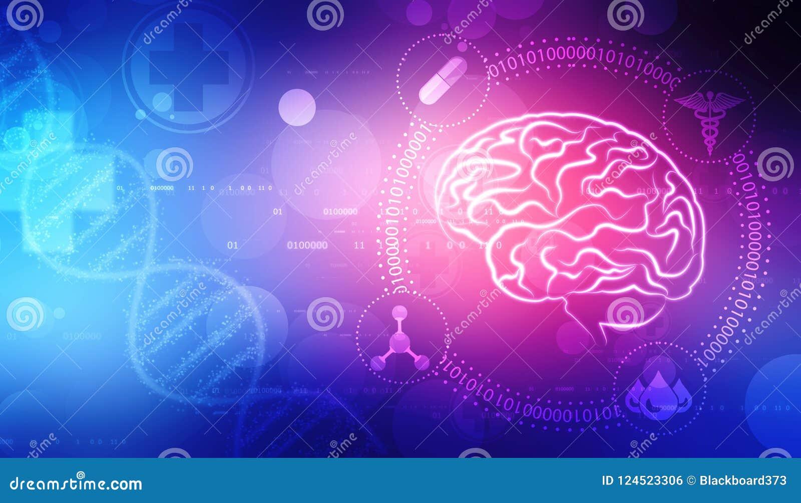 Illustration de Digital de structure d esprit humain, fond créatif de concept de cerveau, fond d innovation