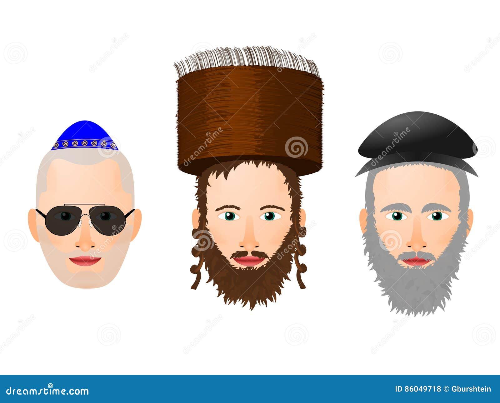 Illustration de divers visages et couvre-chef chez l homme religieux juif
