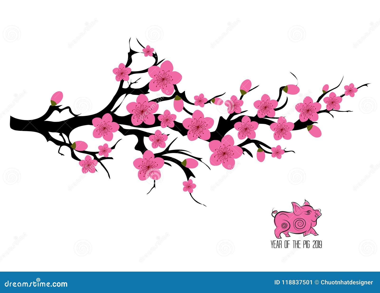 Illustration De Embranchement D'arbre De Fleurs De Cerisier Du Japon Carte Japonaise D ...