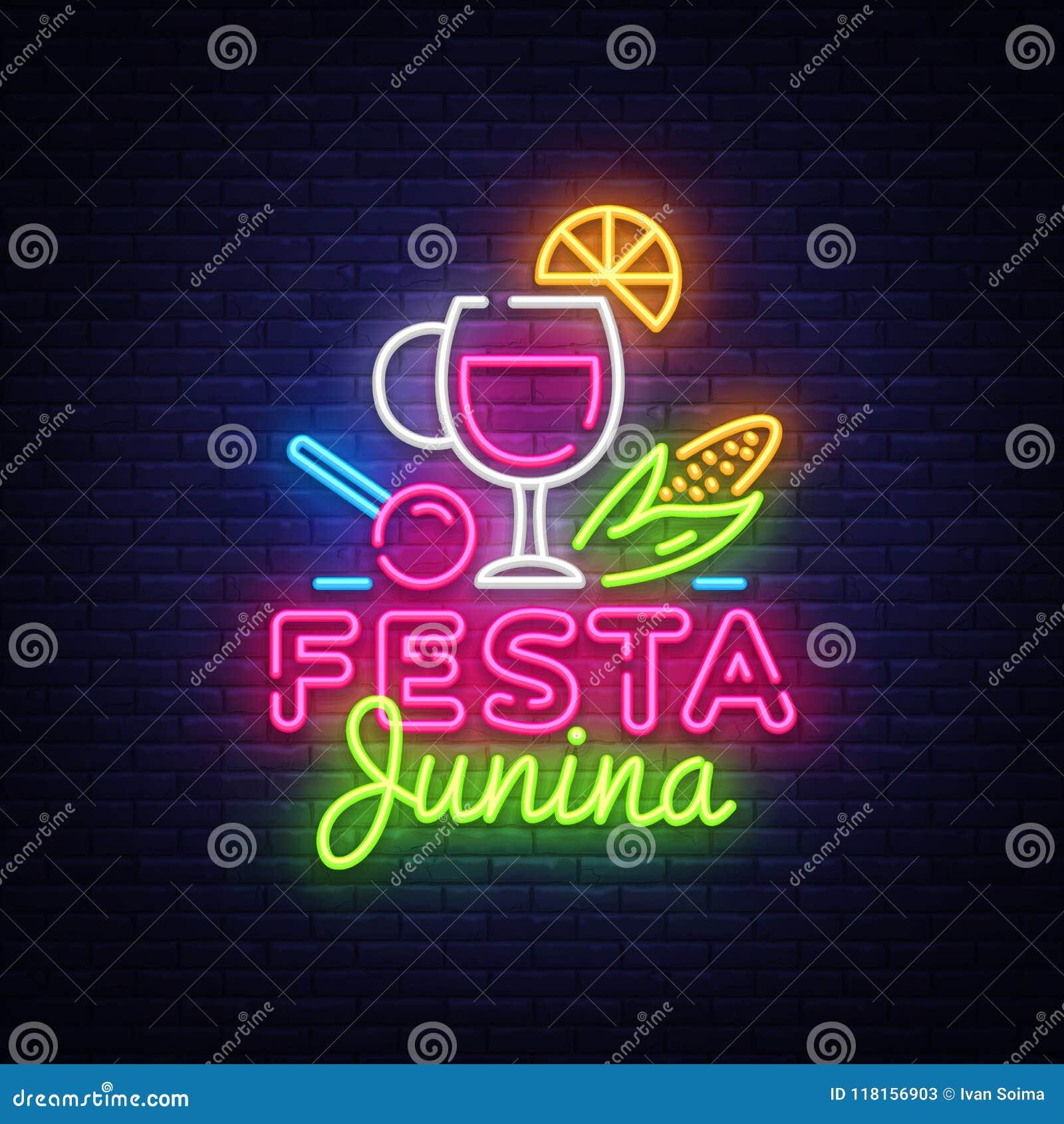 Illustration de fête de vecteur de Festa Junina Le calibre de conception est le style au néon, conception moderne de tendance Vac