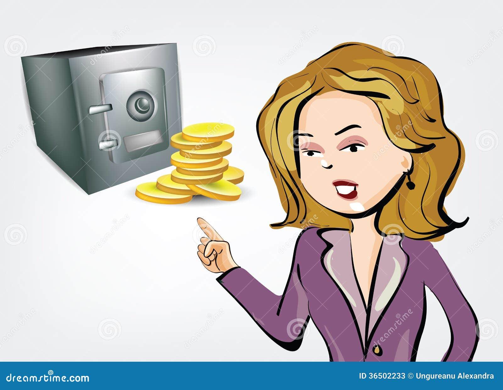 Illustration de femme d affaires avec la chambre forte et les pièces de monnaie