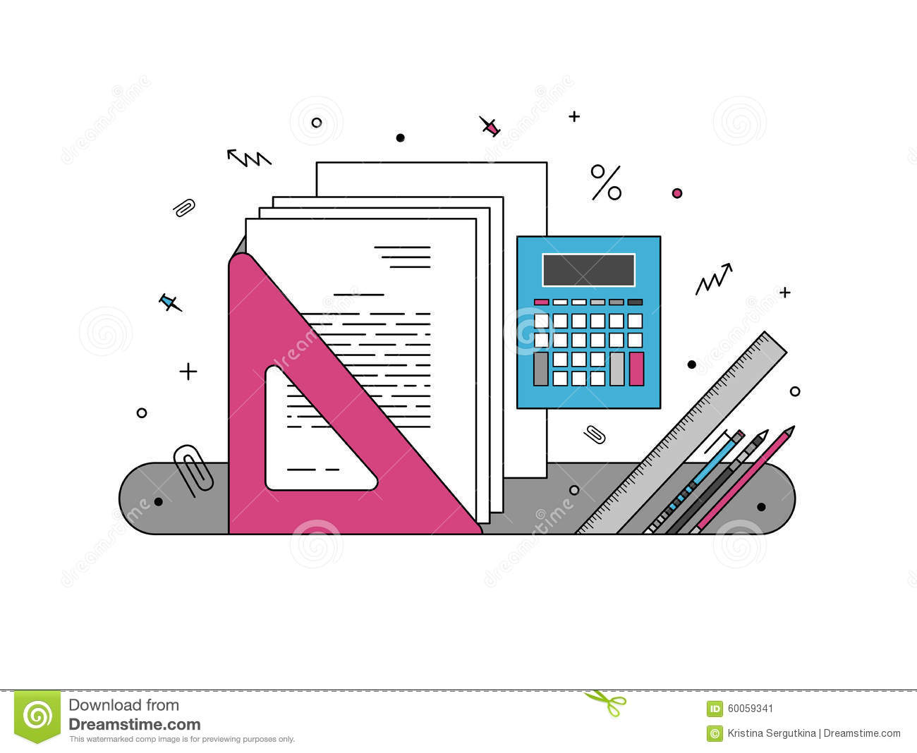 photo stock office supplies illustration image