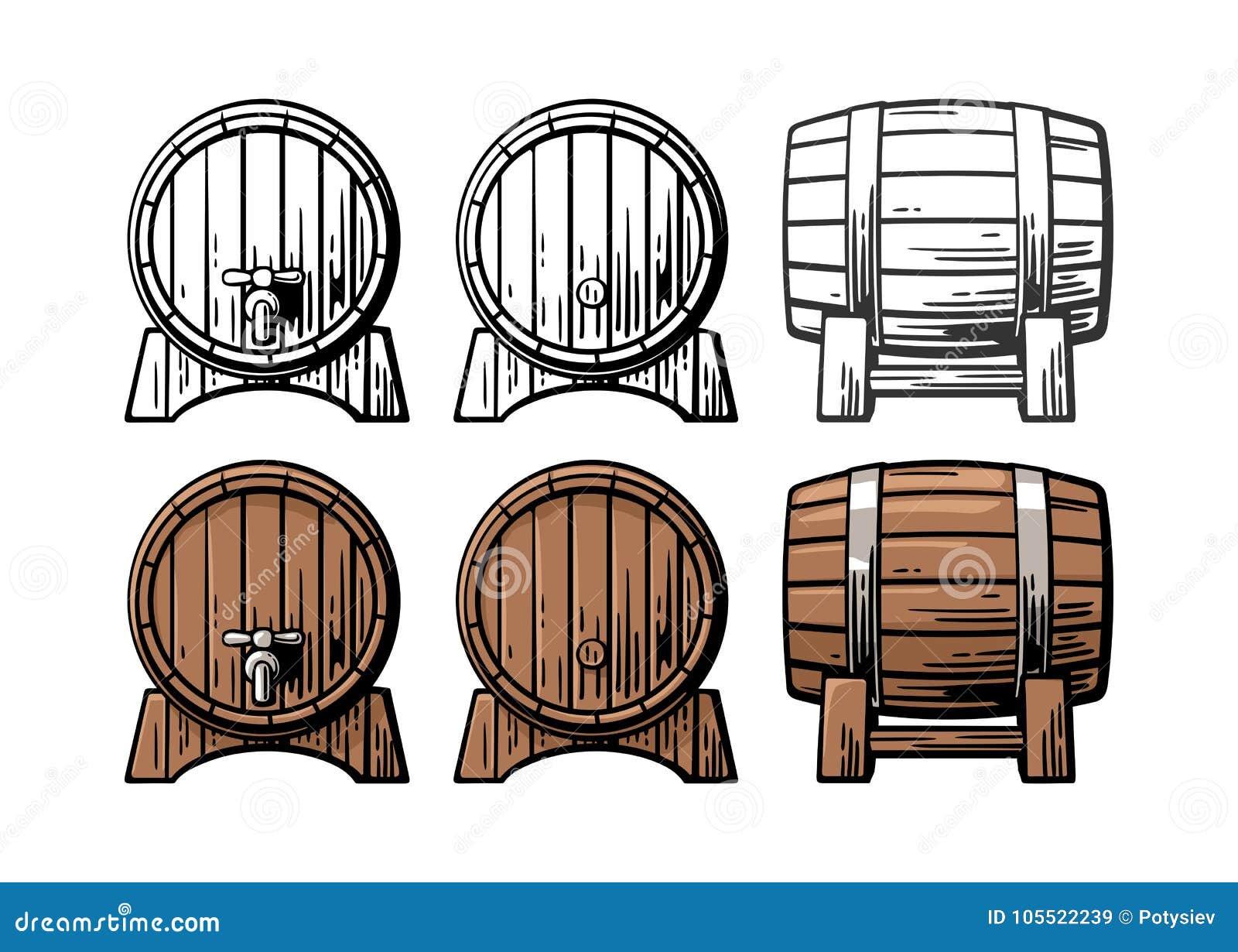 Illustration de gravure de vue de côté avant et de baril en bois