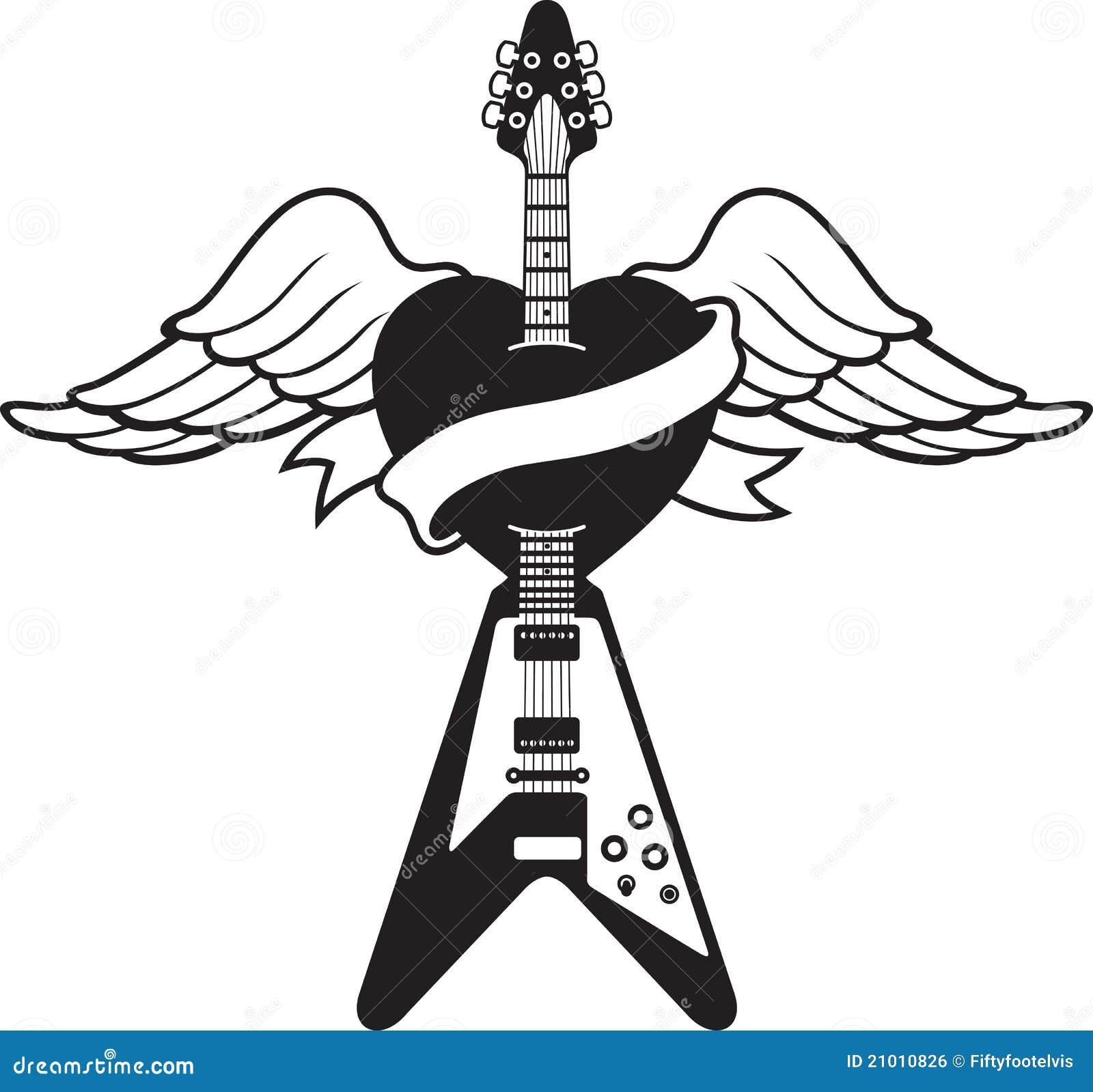Illustration De Guitare De Type De Tatouage Illustration De Vecteur