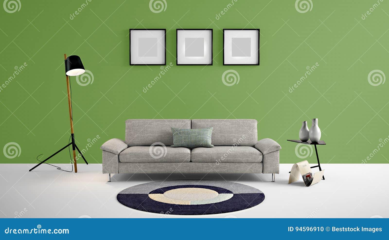 Illustration De Haute R Solution Du Salon 3d Avec Le Mur De  # Salon Meuble En Vert