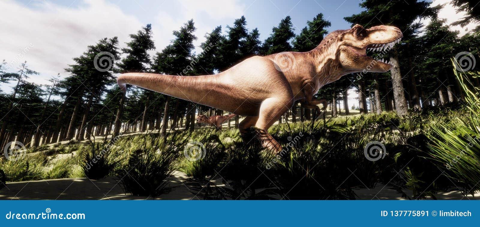 Illustration de haute résolution extrêmement détaillée 3d et réaliste d un dinosaure de T-Rex Tyranno Saurus dans la forêt