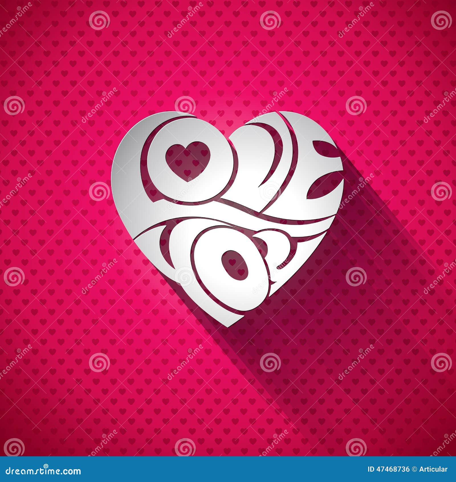 Illustration de jour de valentines de vecteur avec amour 3d vous conception de typographie sur le fond de coeur