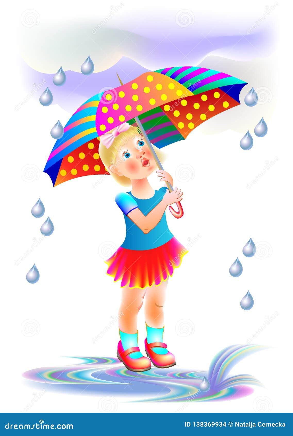 Illustration De La Petite Fille Mignonne Se Cachant De La