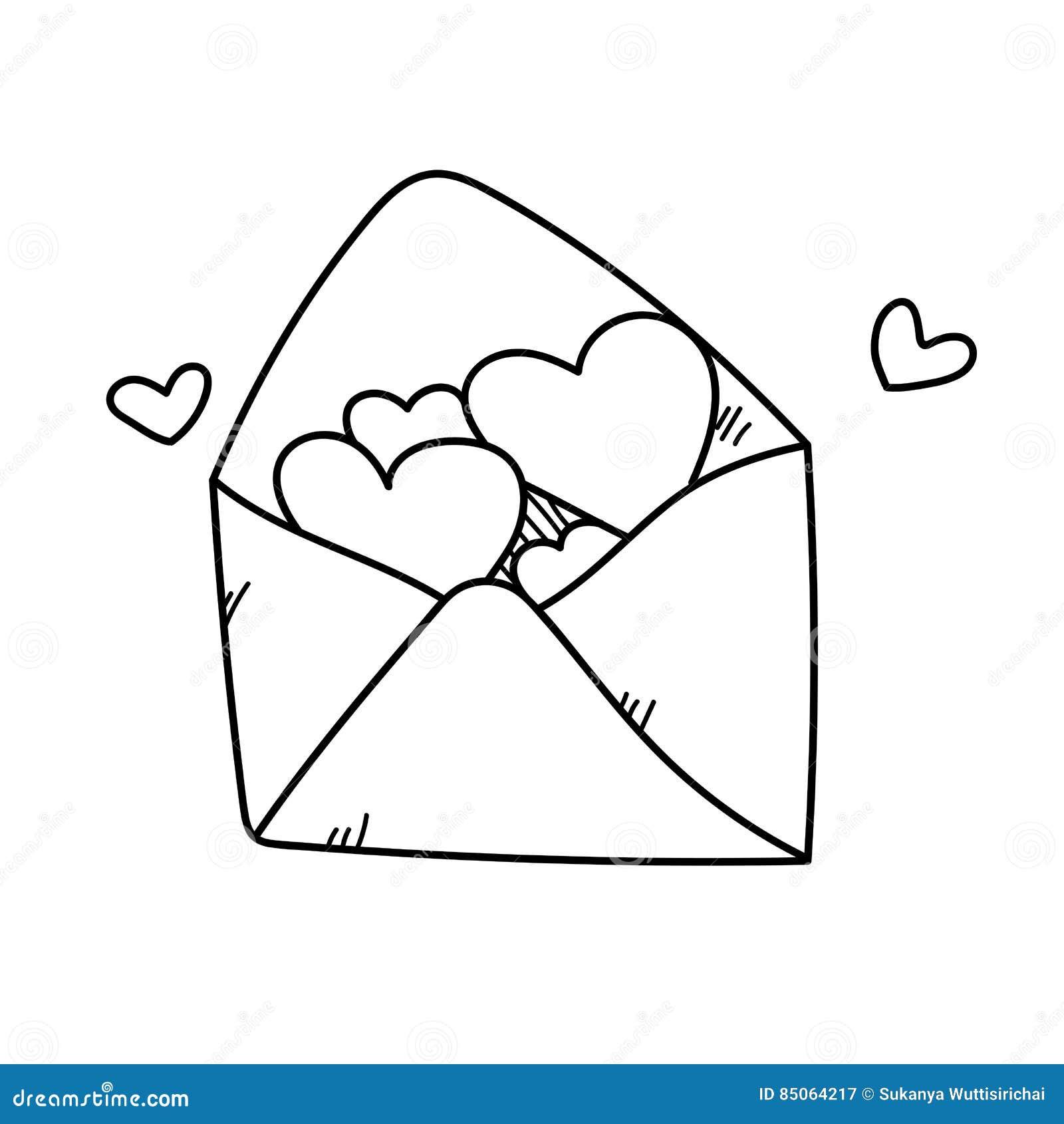 Illustration de lettre d 39 amour de dessin de dessin main - Dessin d amour ...