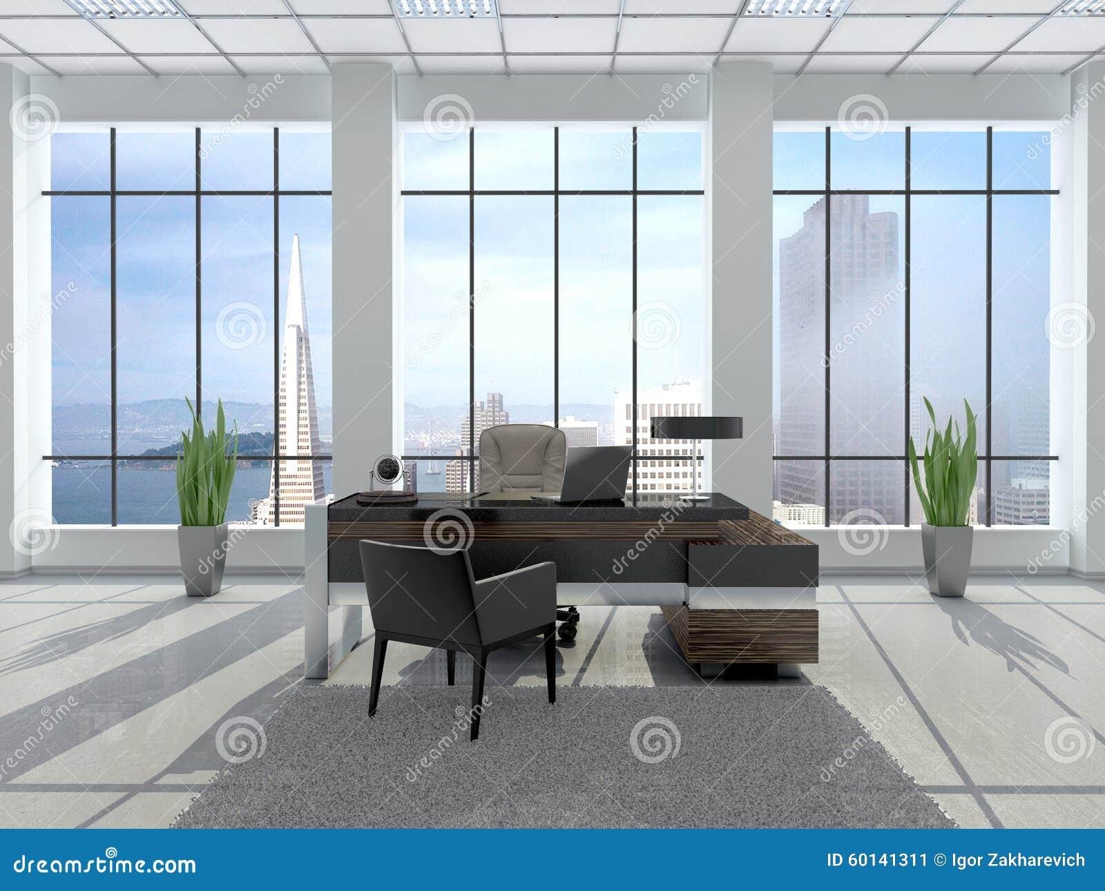 Illustration de lieu de travail moderne dans un bureau avec le grand