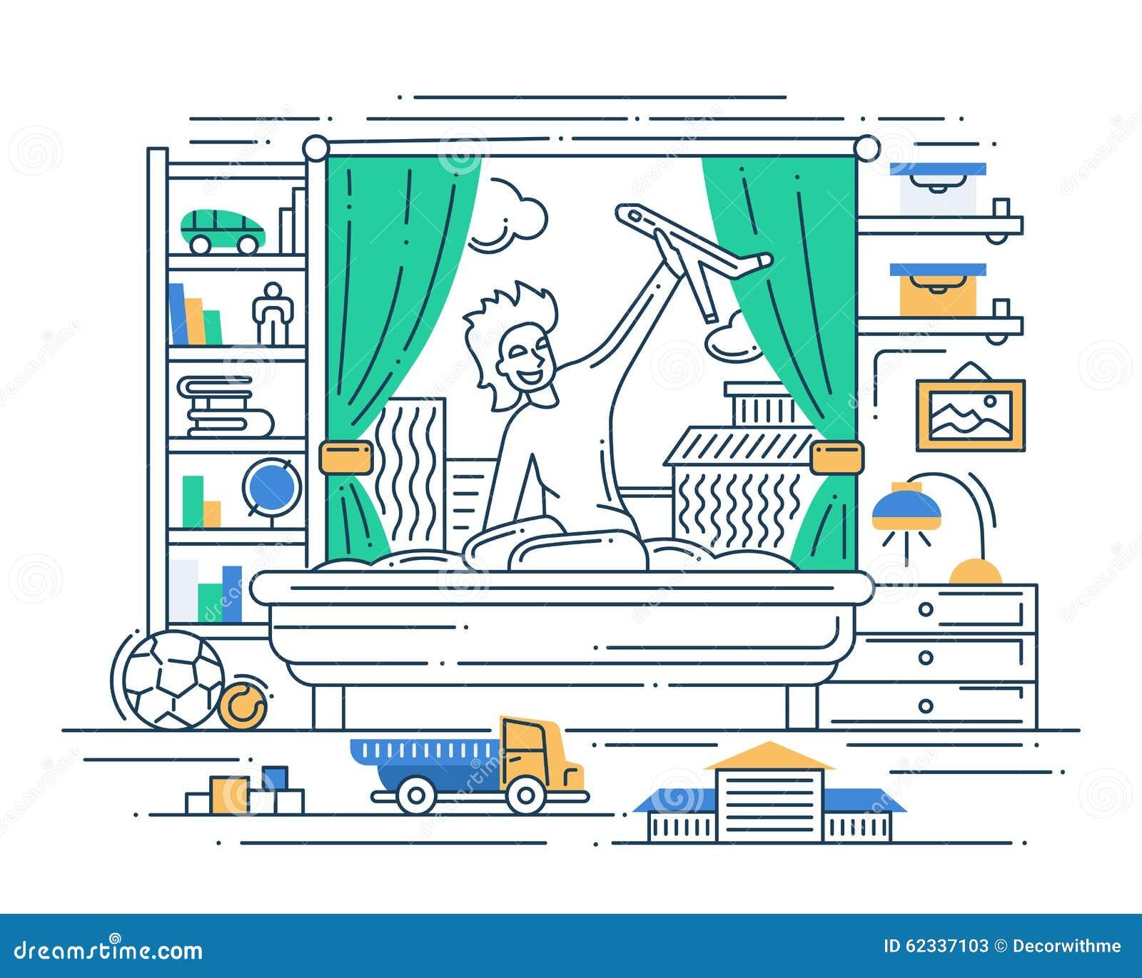 Illustration de ligne moderne conception plate for Conception de plan en ligne
