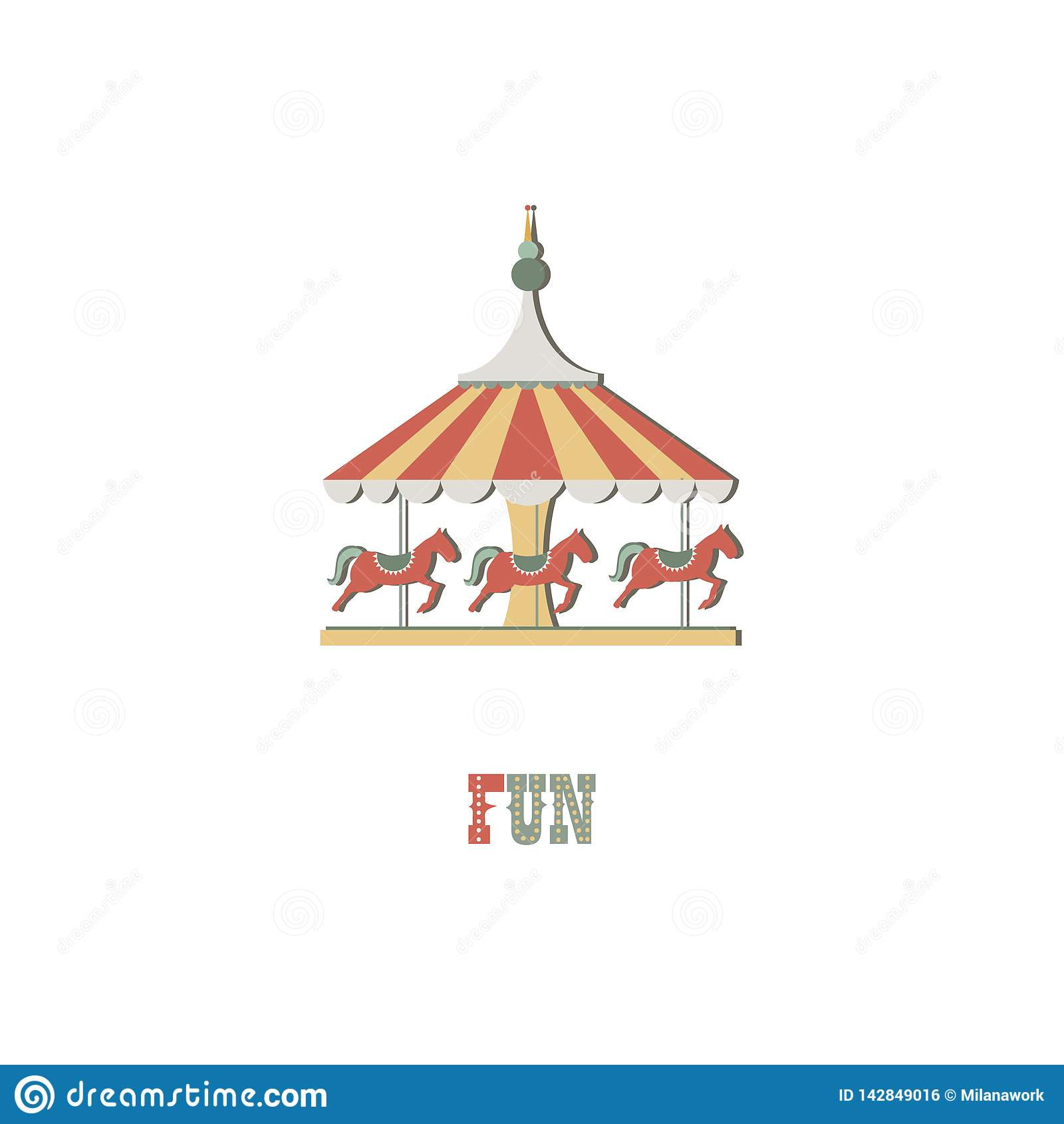 Illustration de logotype Cheval de carrousel sur le fond d isolement blanc